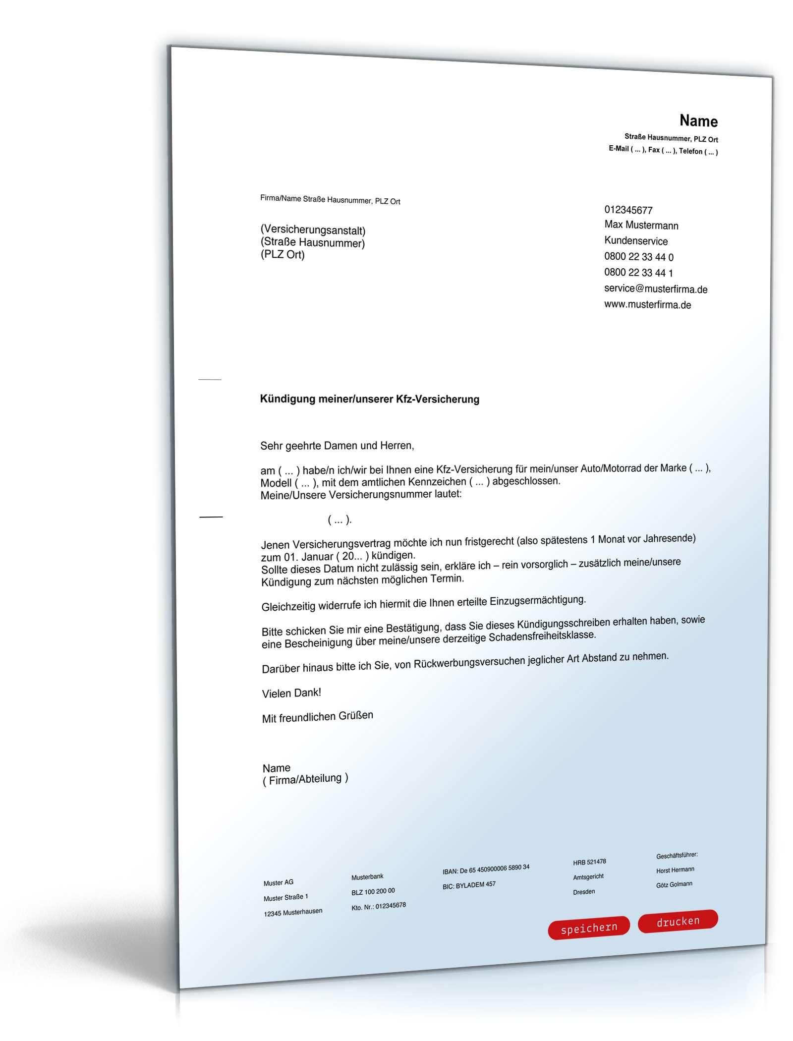 Kündigung Der Kfz Versicherung Muster Zum Download