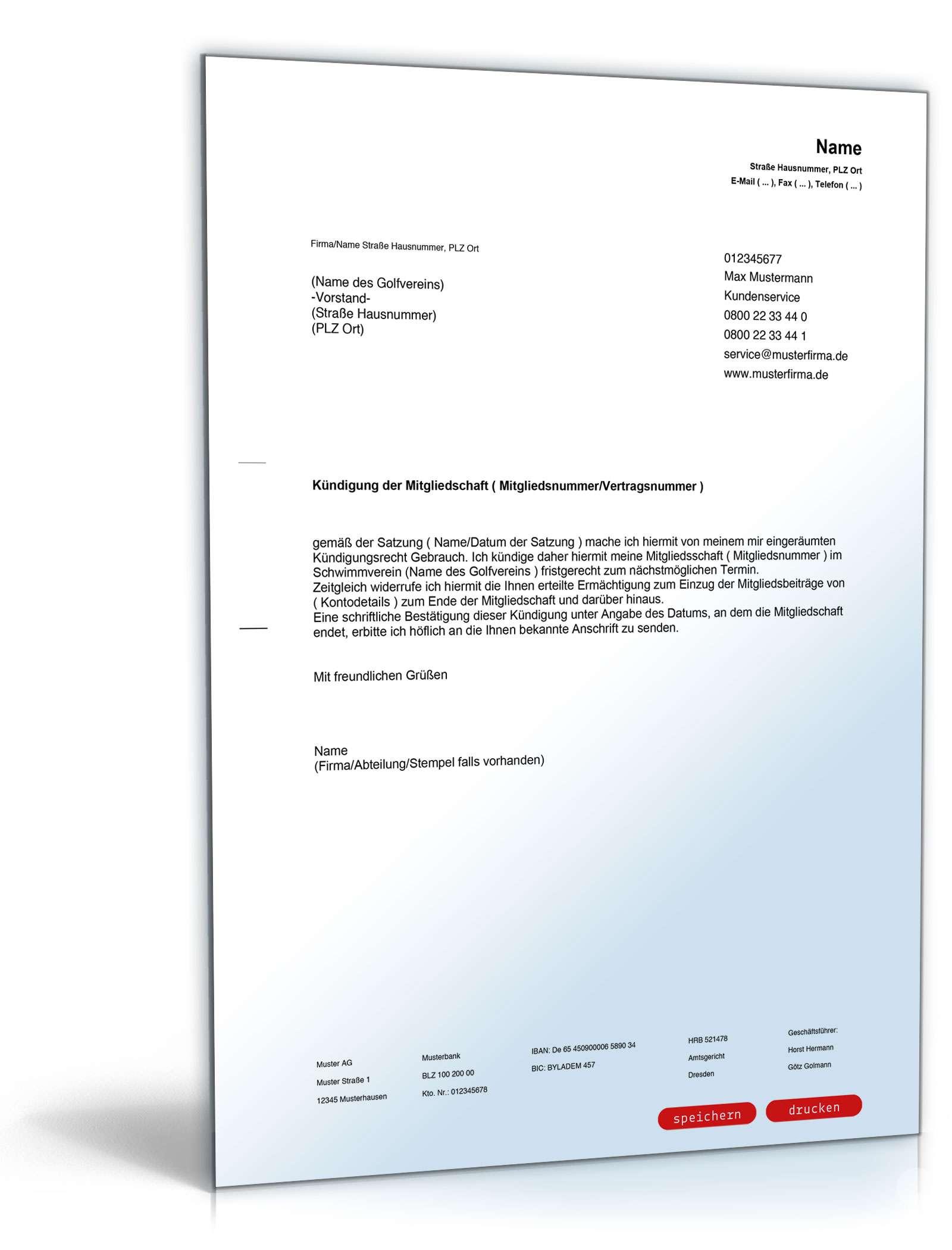 Kündigung Mitgliedschaft Golfverein Muster Zum Download