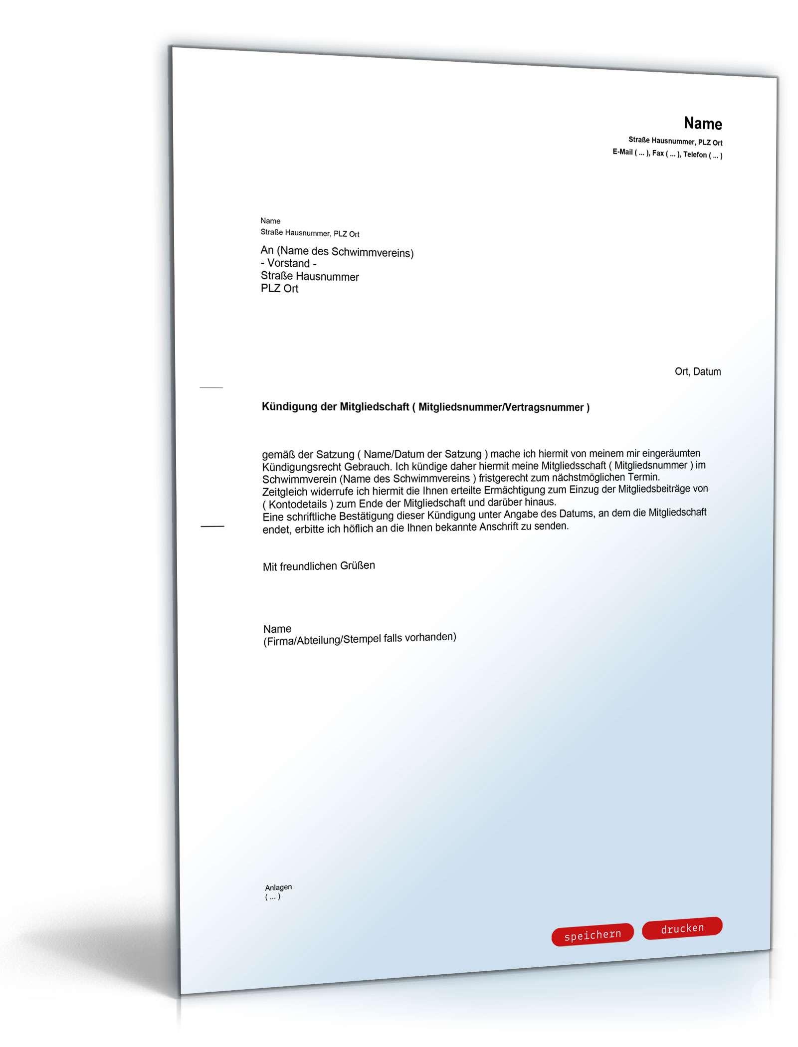 Kündigung Mitgliedschaft Schwimmverein Muster Zum Download