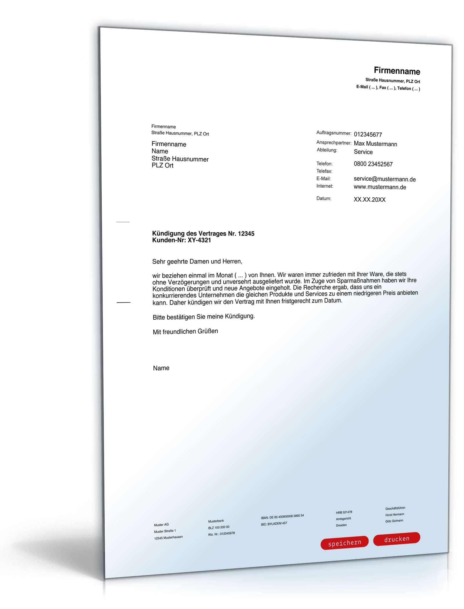 Kündigung Regelmäßiger Lieferung Vorlage Zum Download