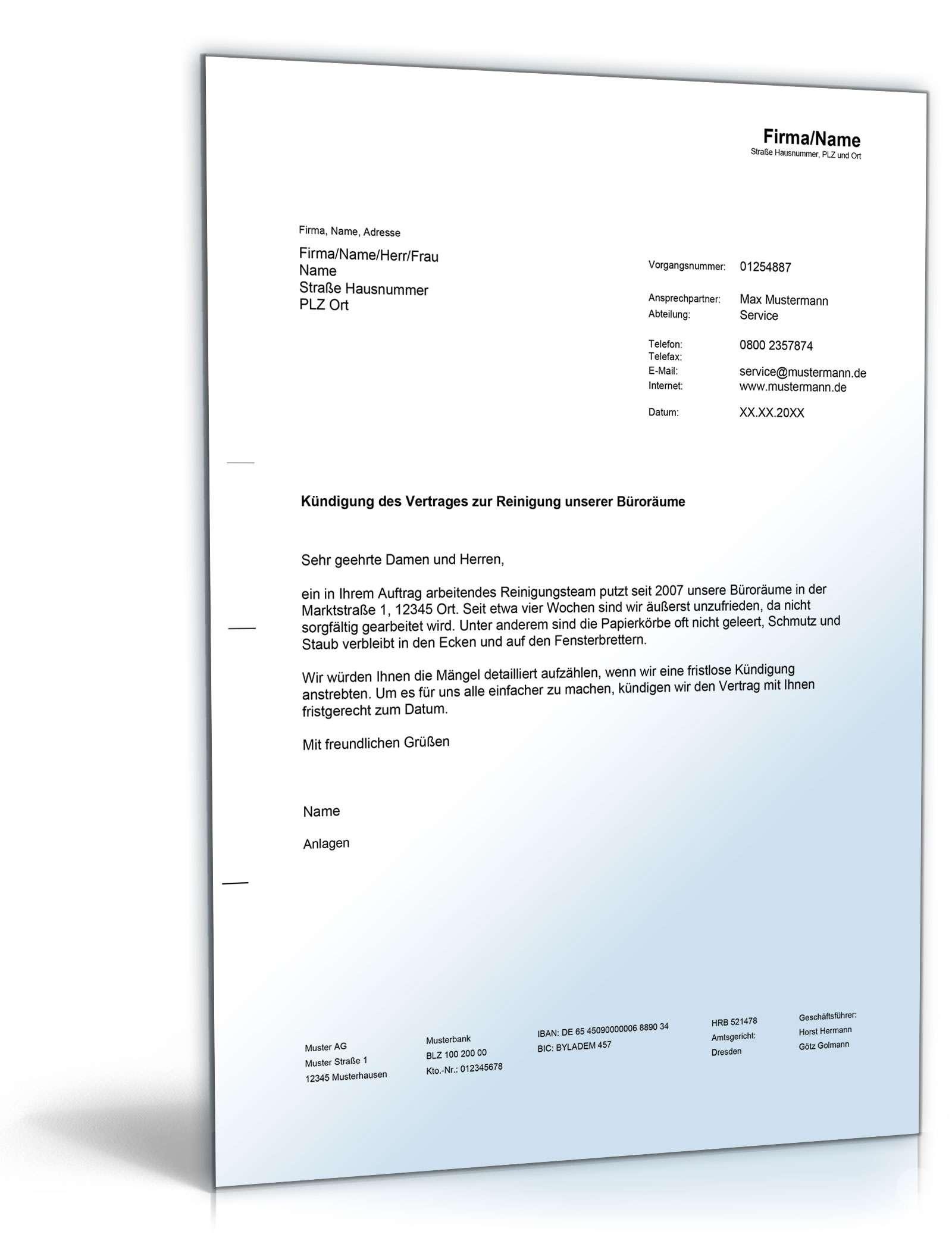 Kündigung des Reinigungsdienstes • DE Musterbrief Download
