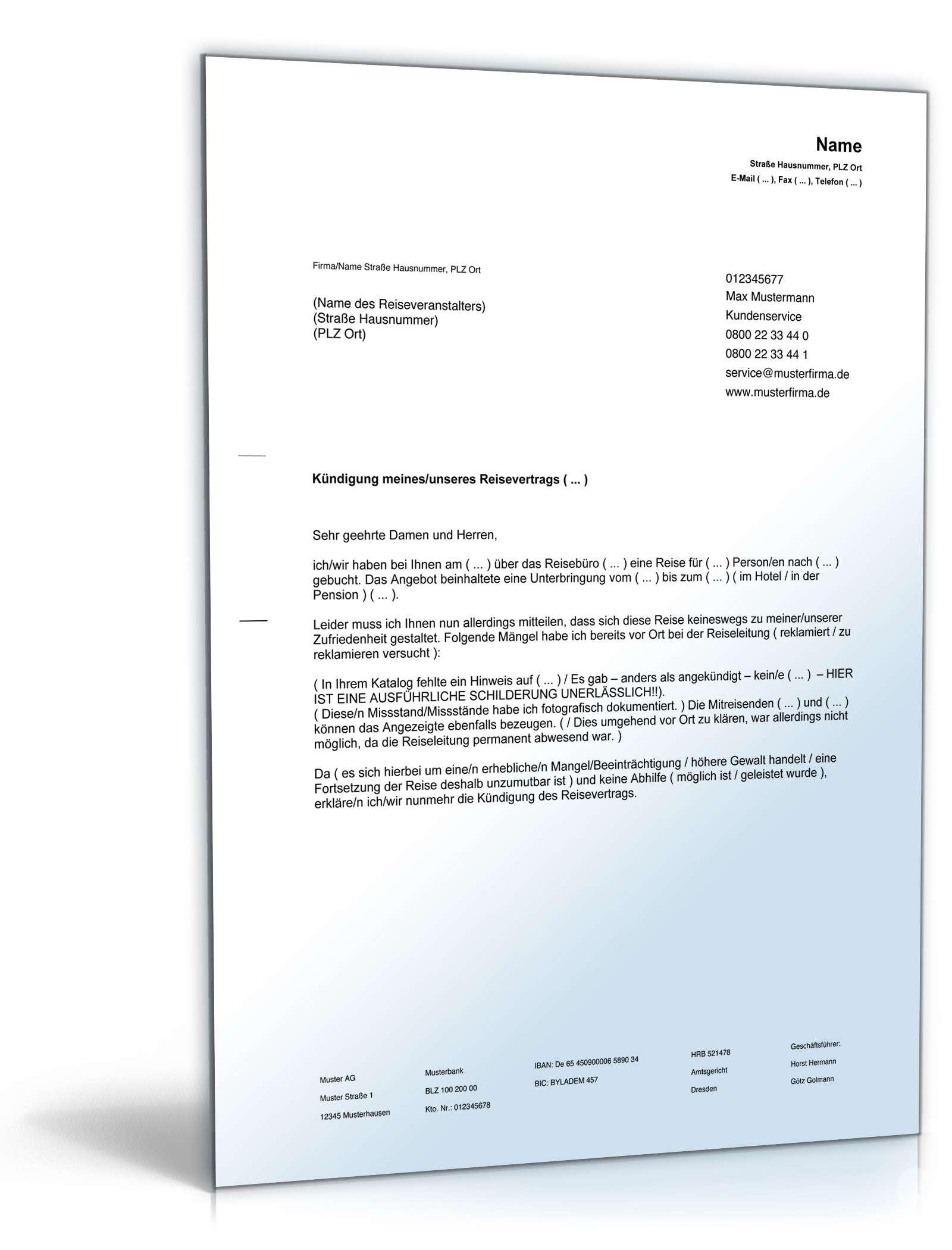 Kündigung Reisevertrag | Vorlage zum Download