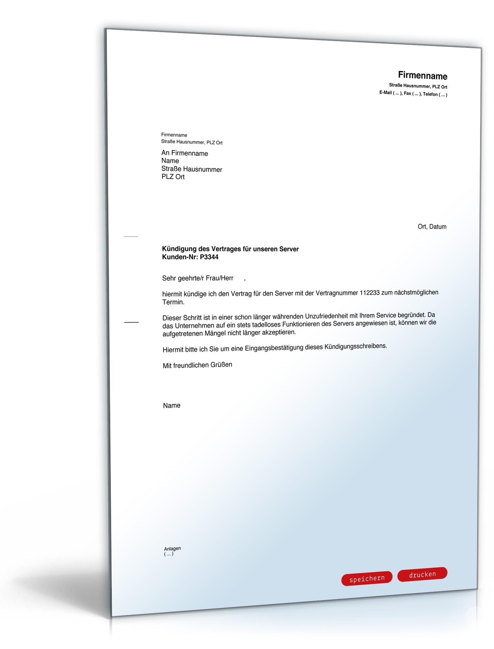 Kündigung Server: Rechtssichere Vorlage für Kündigungsschreiben