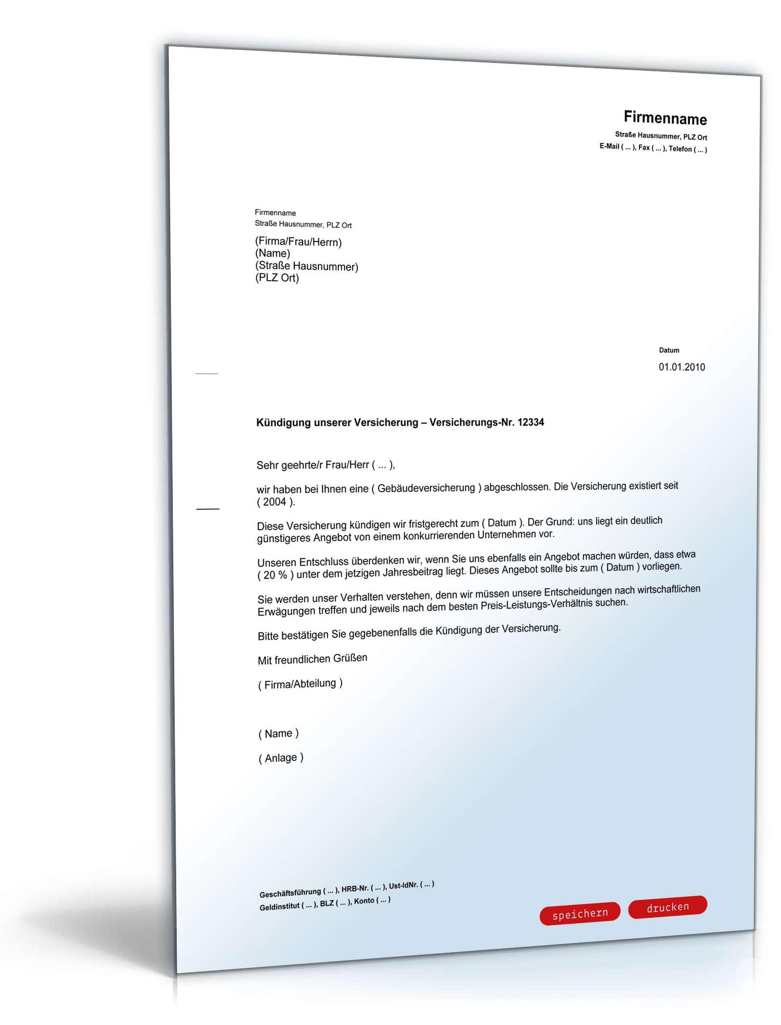 Kündigung Versicherung Vorlage Zum Download