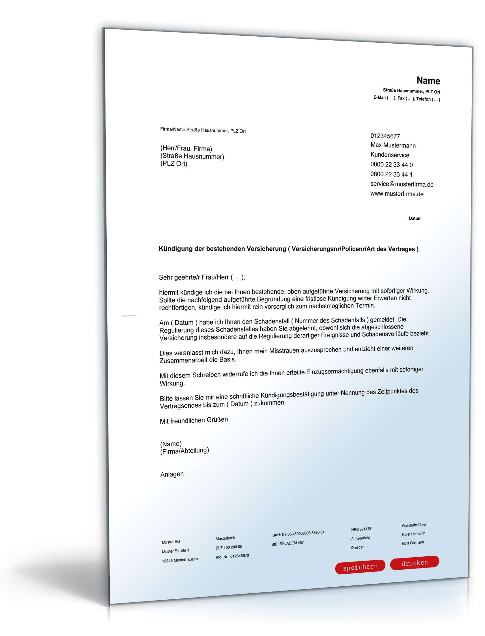 Kündigung Versicherung Muster Zum Download