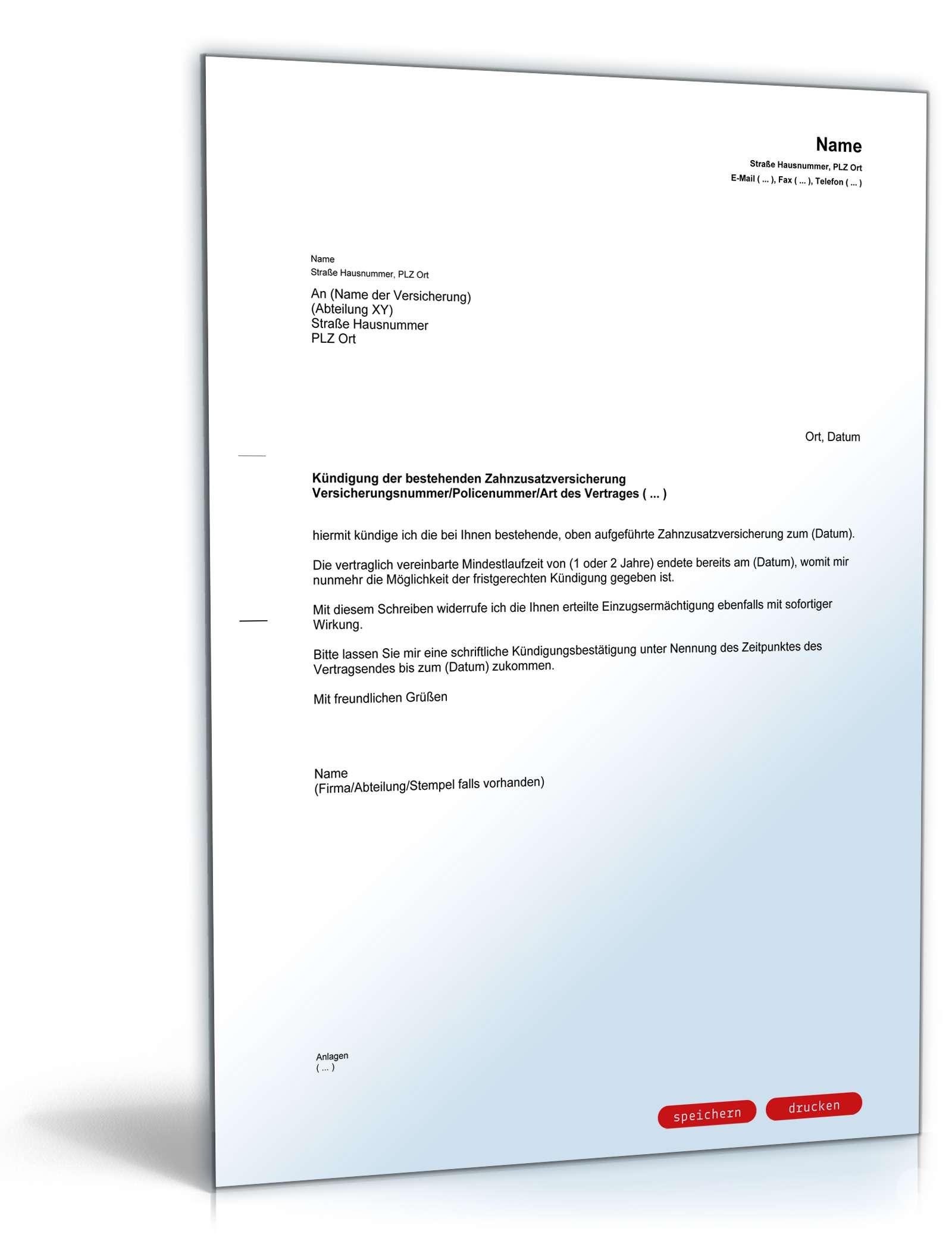Fristgemäße Kündigung Zahnzusatzversicherung Vorlage Zum Download