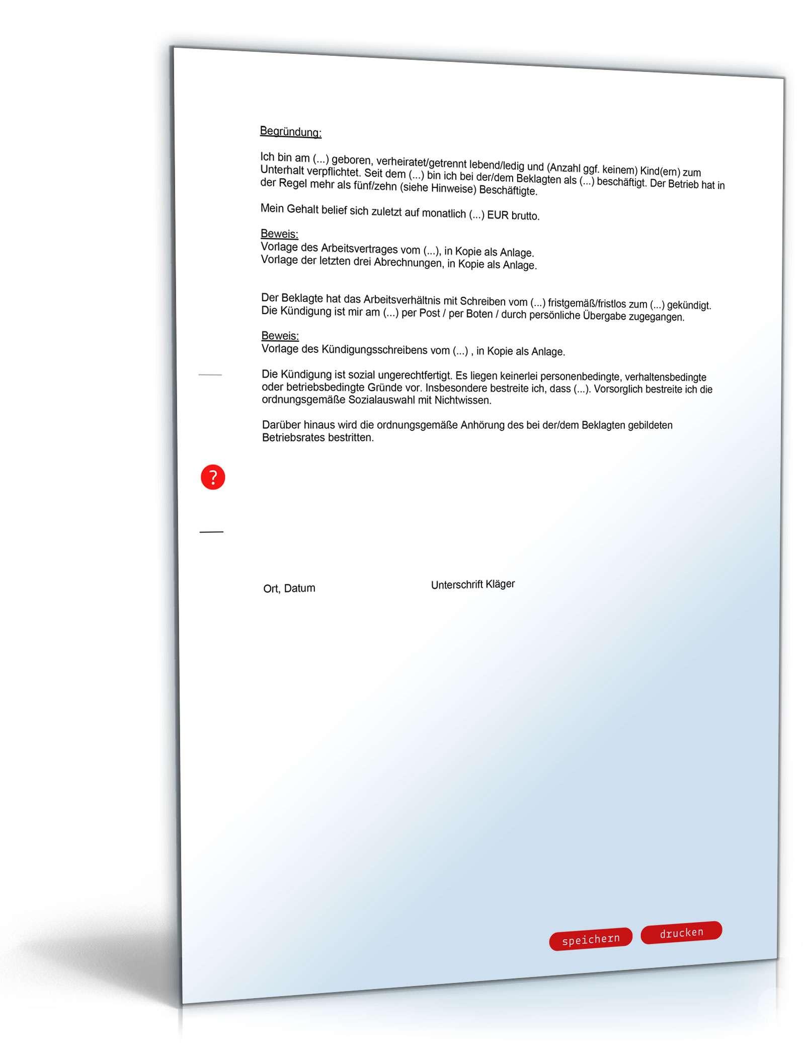 Kündigungsschutzklage Vorlage Zum Download