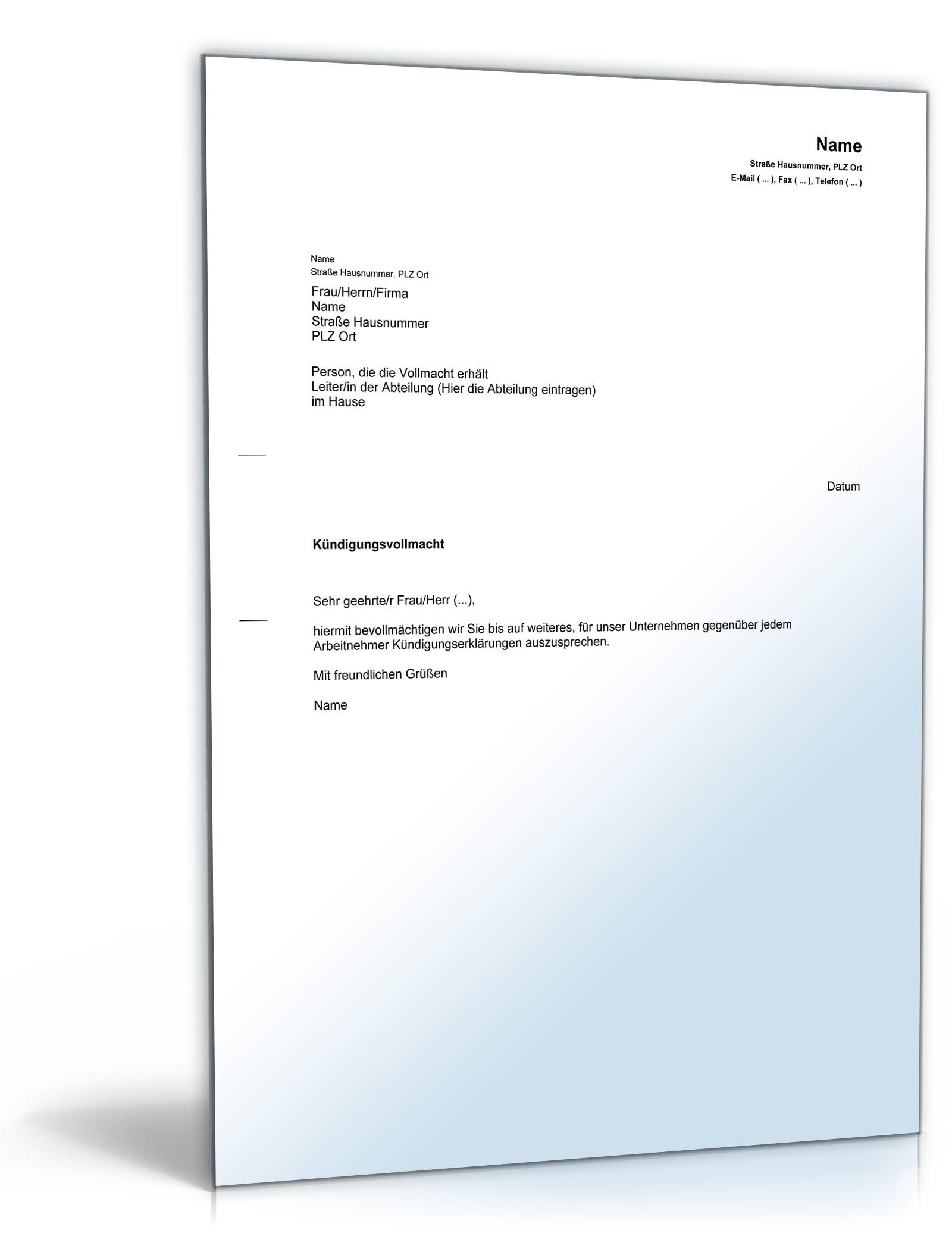 Kündigungsvollmacht Rechtssicheres Muster Zum Download