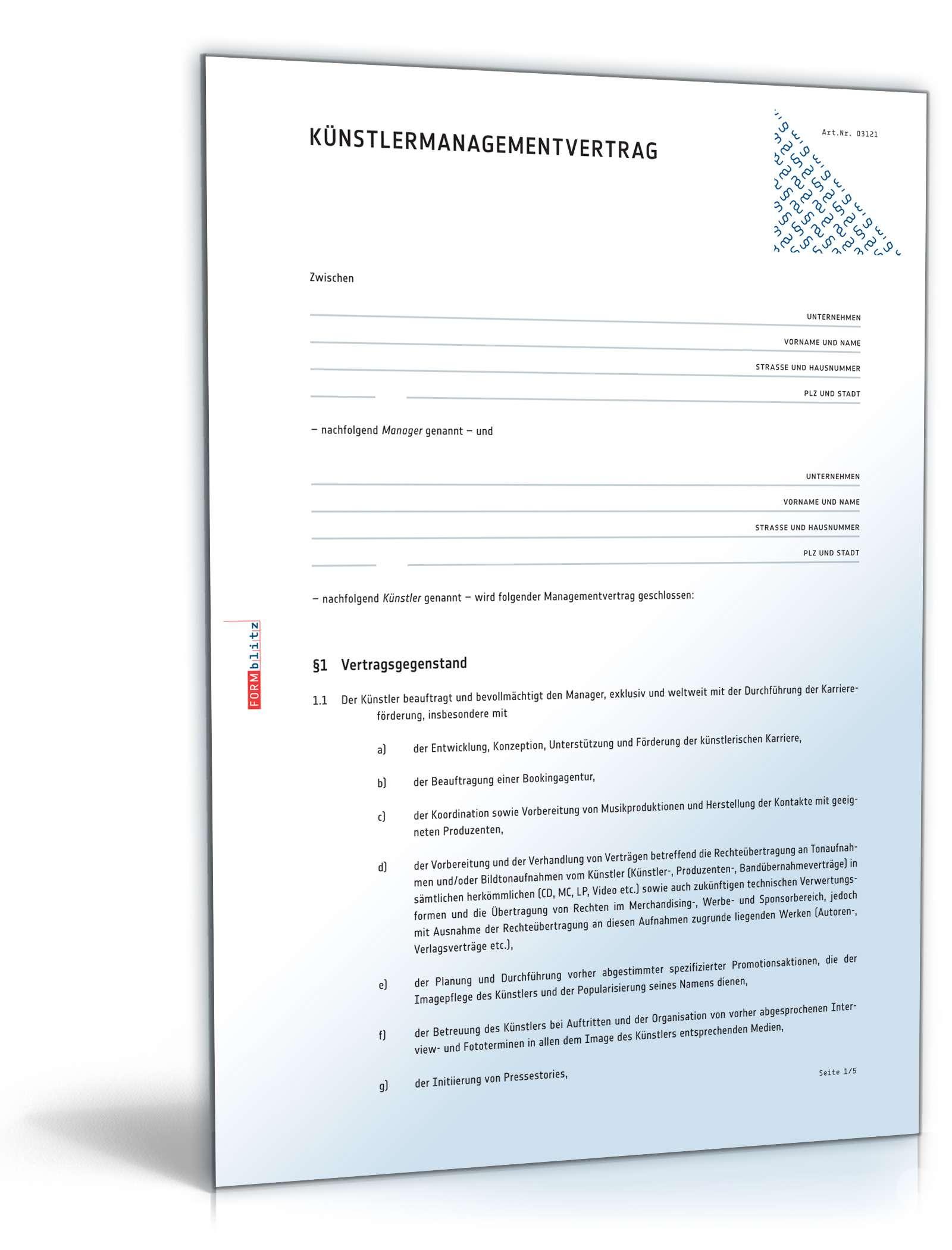 Künstlermanagementvertrag | Muster zum Download