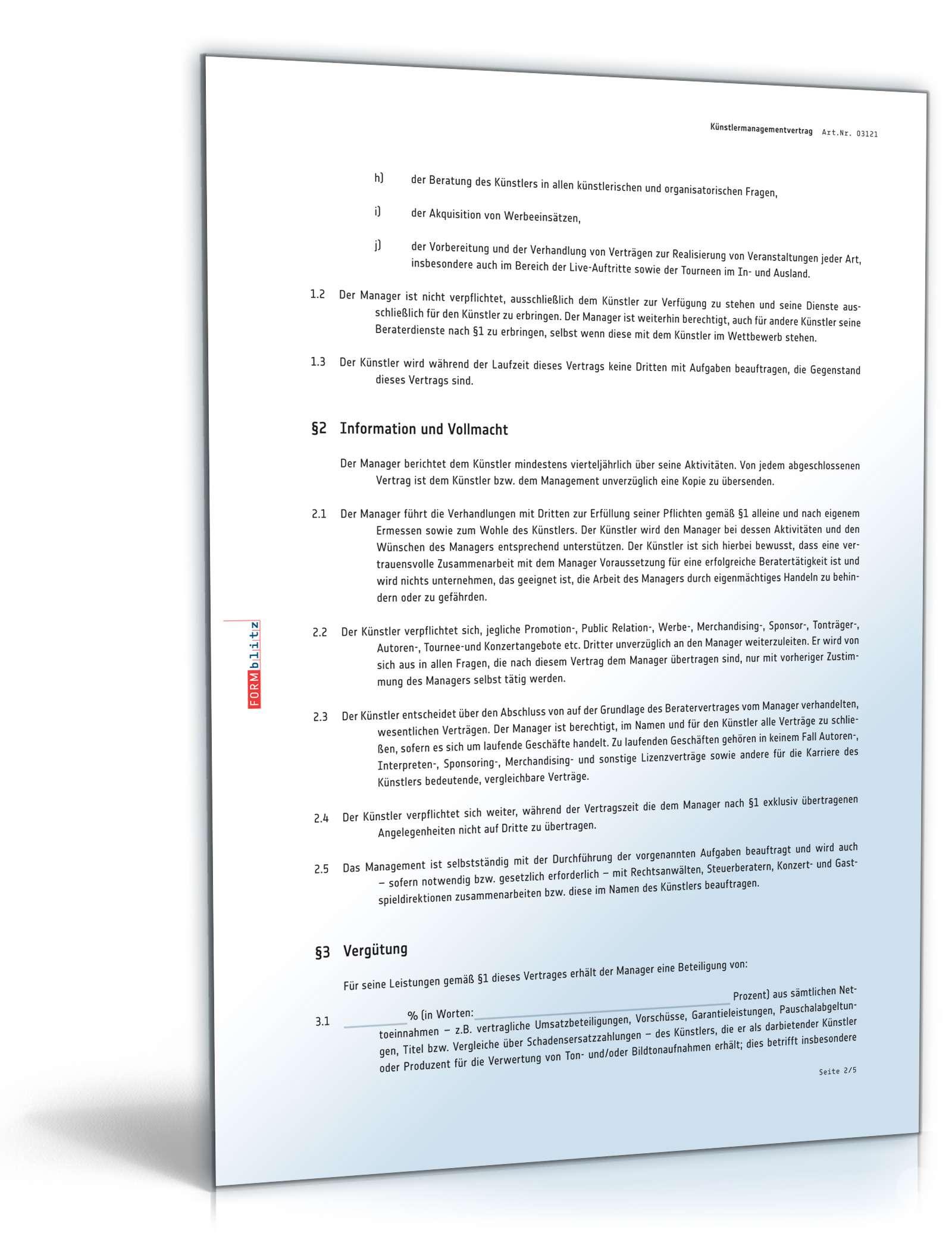Künstlermanagementvertrag Muster Zum Download