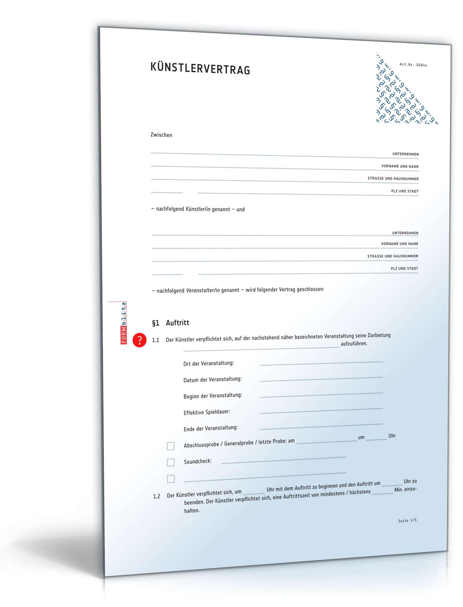 Künstlervertrag Rechtssicheres Muster Zum Download