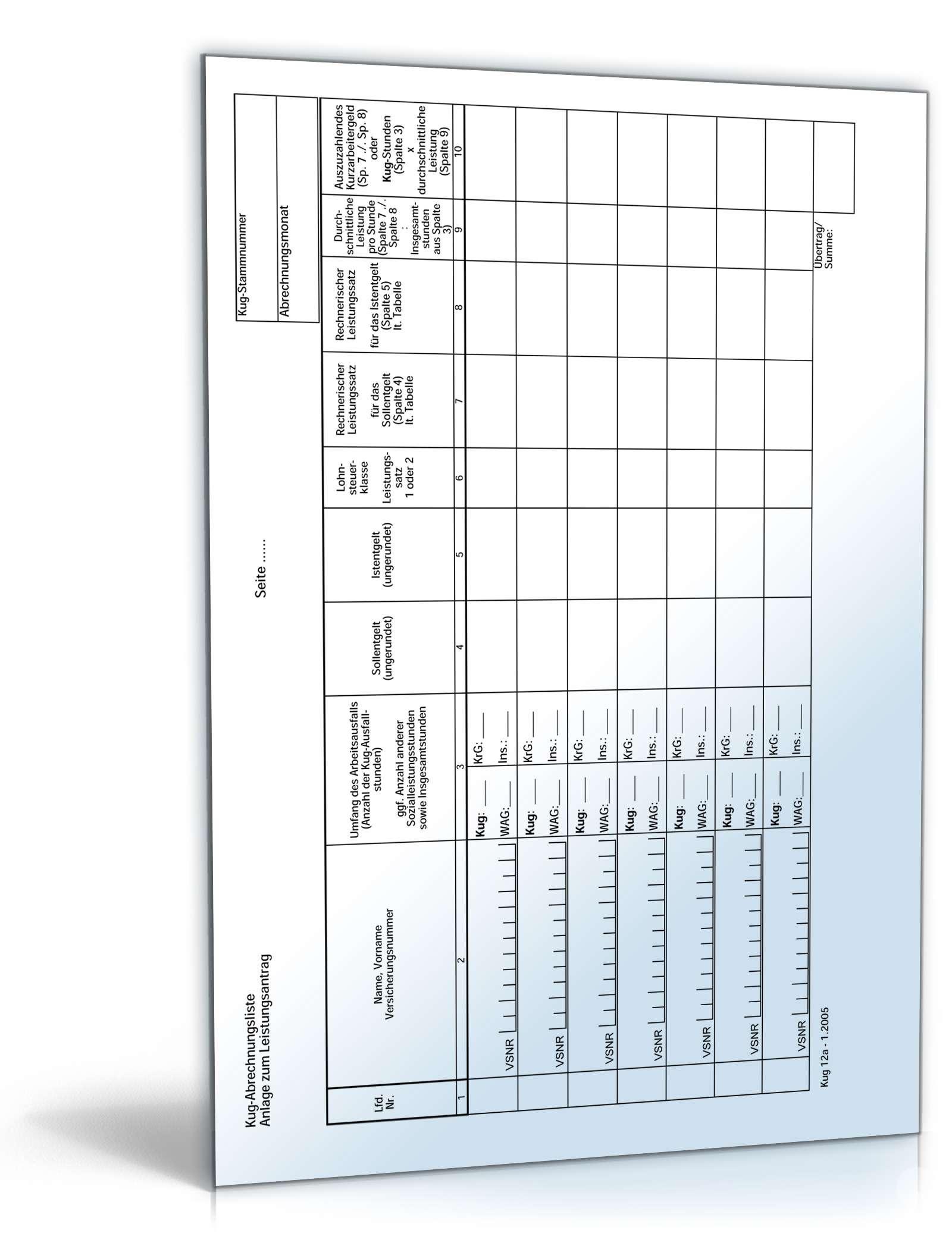 Kurzarbeitergeld Abrechnungsliste | Formular zum Download