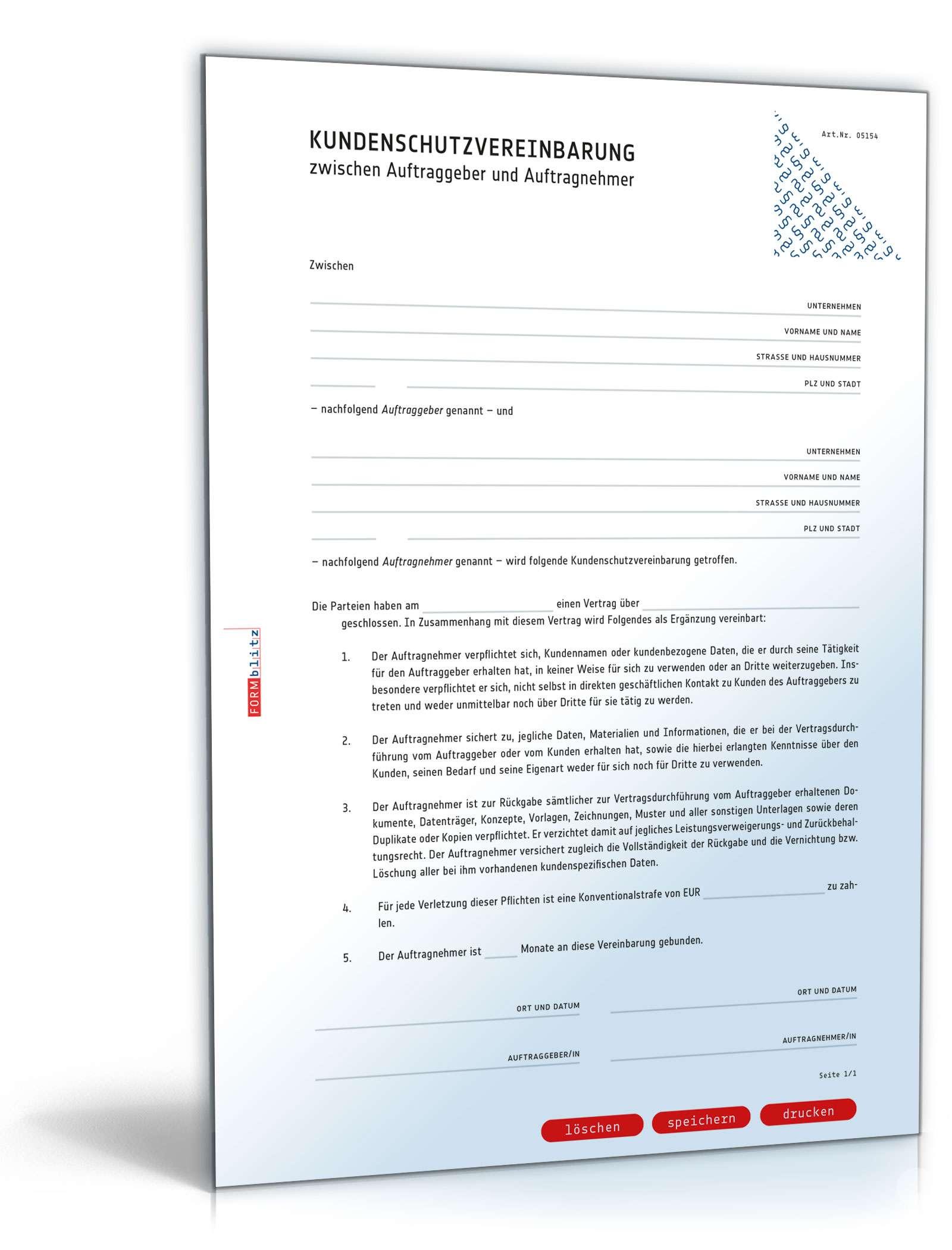 kundenschutzvereinbarung rechtssichere vorlage zum download. Black Bedroom Furniture Sets. Home Design Ideas