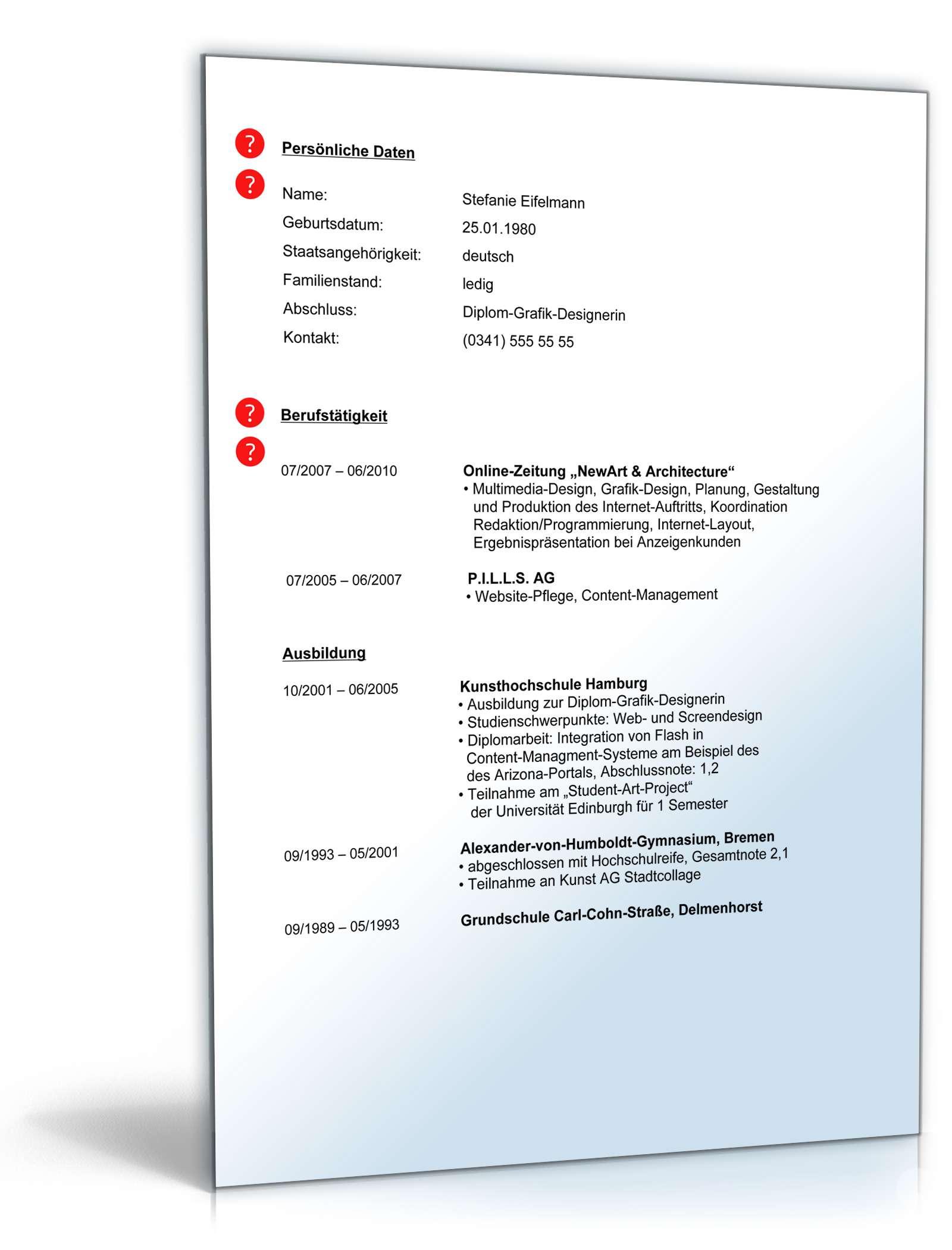 Lebenslauf Hochschulabsolvent Berufserfahrung | Muster zum Download