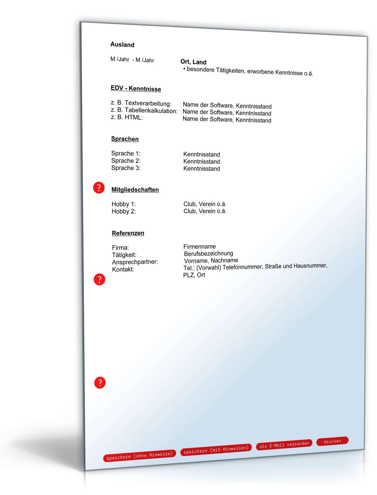 Lebenslauf Bewerber/-in mit Berufserfahrung | Muster zum Download