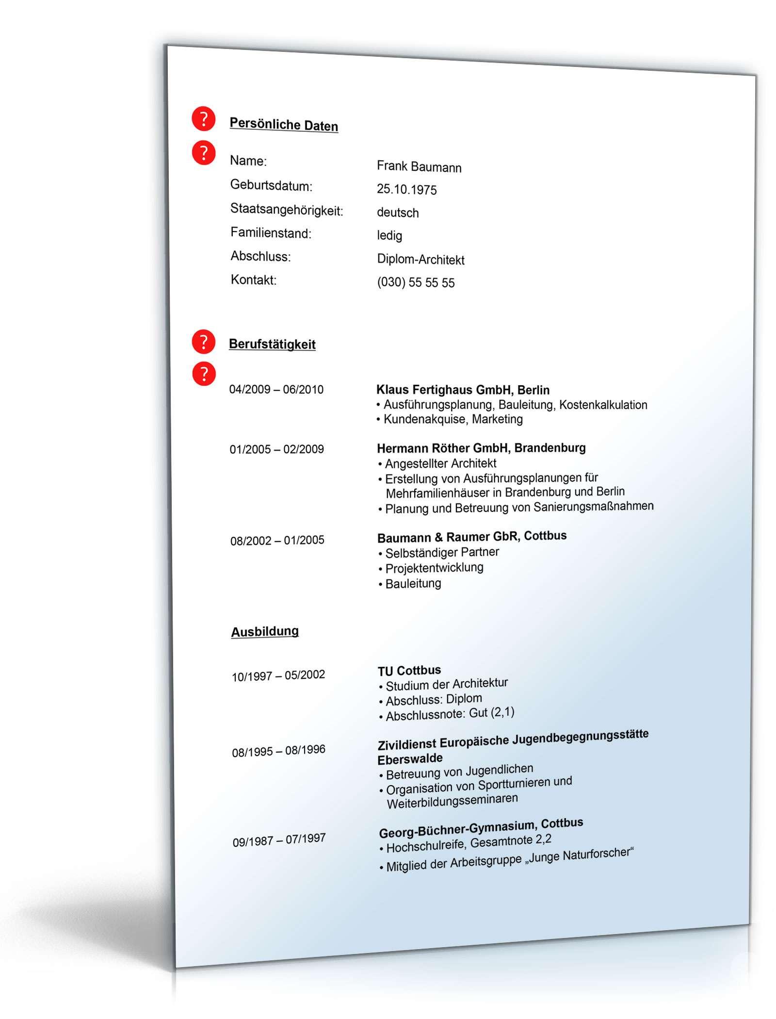 Lebenslauf architekt muster zum download for Bewerbung architekturburo