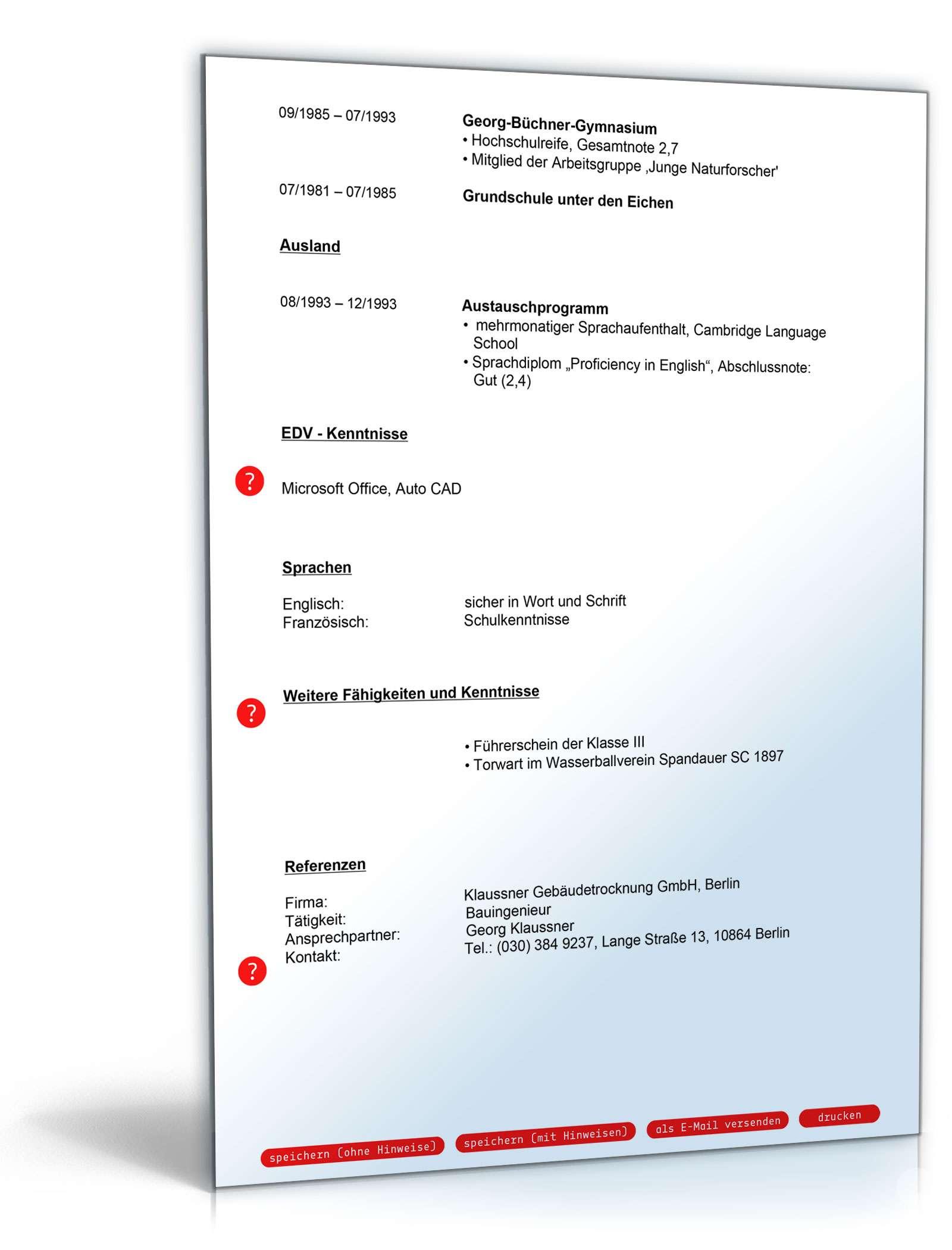 Lebenslauf bauingenieur muster zum download for Bewerbung architekturburo