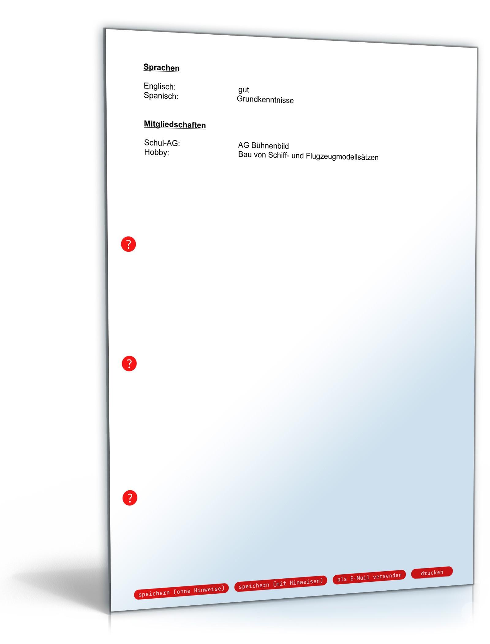 Lebenslauf Hauptschulabschluss Ausbildungsplatz | Muster zum Download