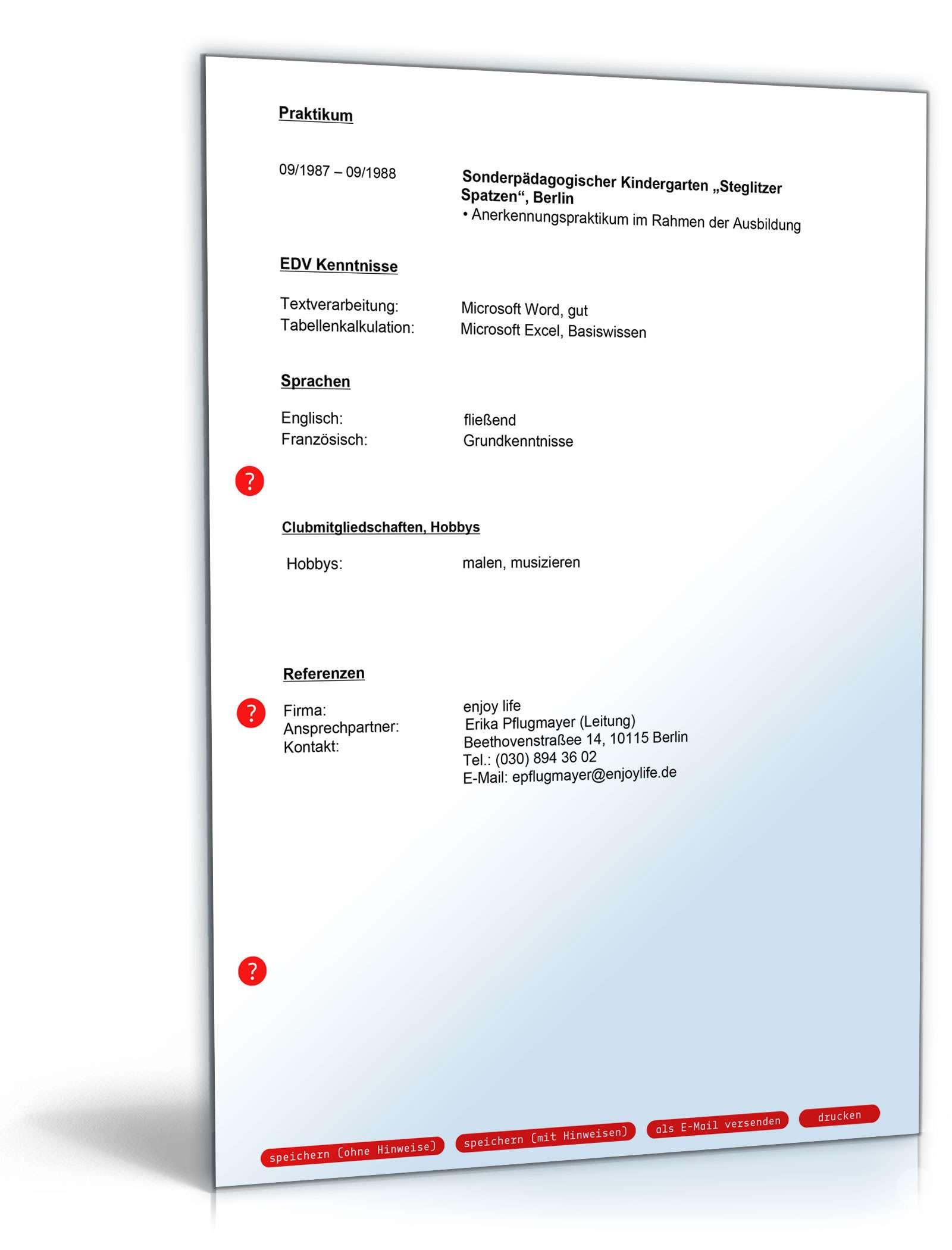 Lebenslauf Heilerziehungspfleger | Muster zum Download