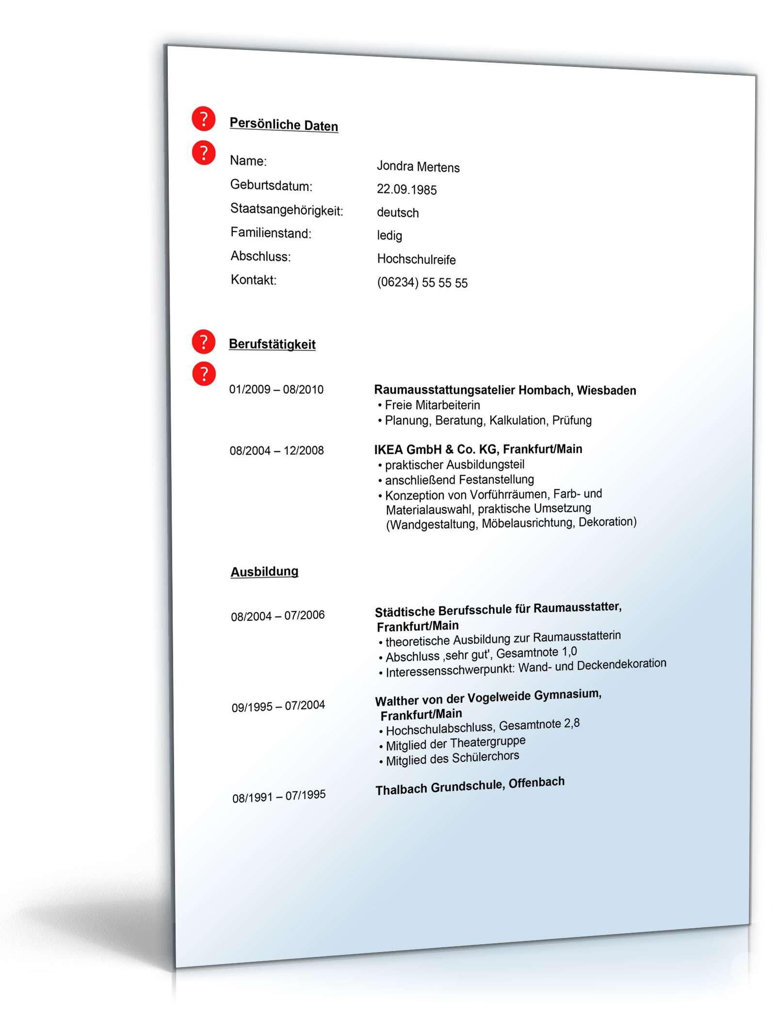 Lebenslauf raumausstatter muster zum download for Raumausstatter beruf