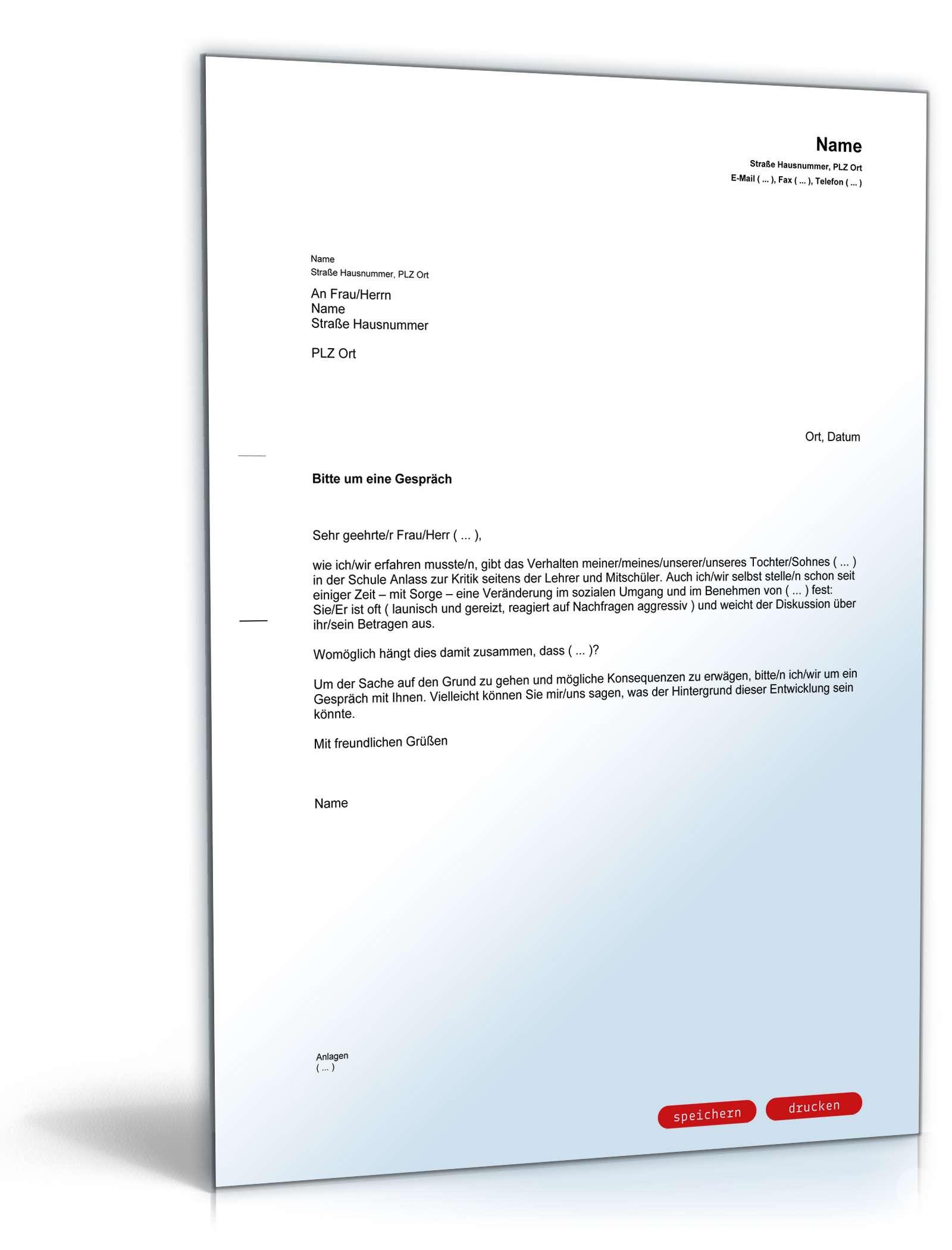lehrer-eltern-gespräch sozialverhalten | muster zum download, Einladung