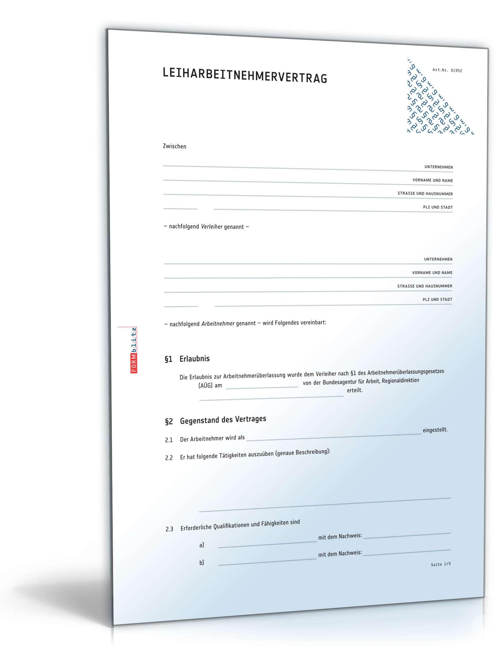 leiharbeitsvertrag rechtssicheres muster zum download - Arbeitnehmeruberlassungsvertrag Muster