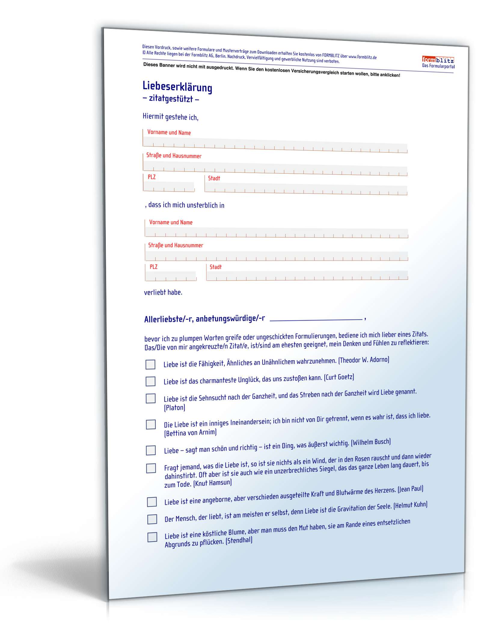 Liebeserklärung zitatgestützt | Vorlage zum Download