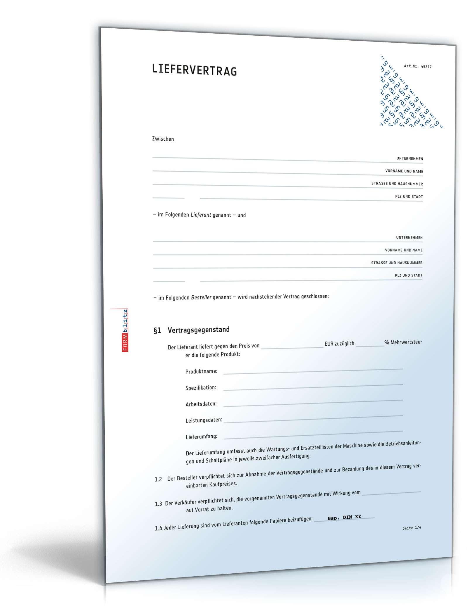 Liefervertrag Rechtssichere Vorlage Downloaden Anpassen