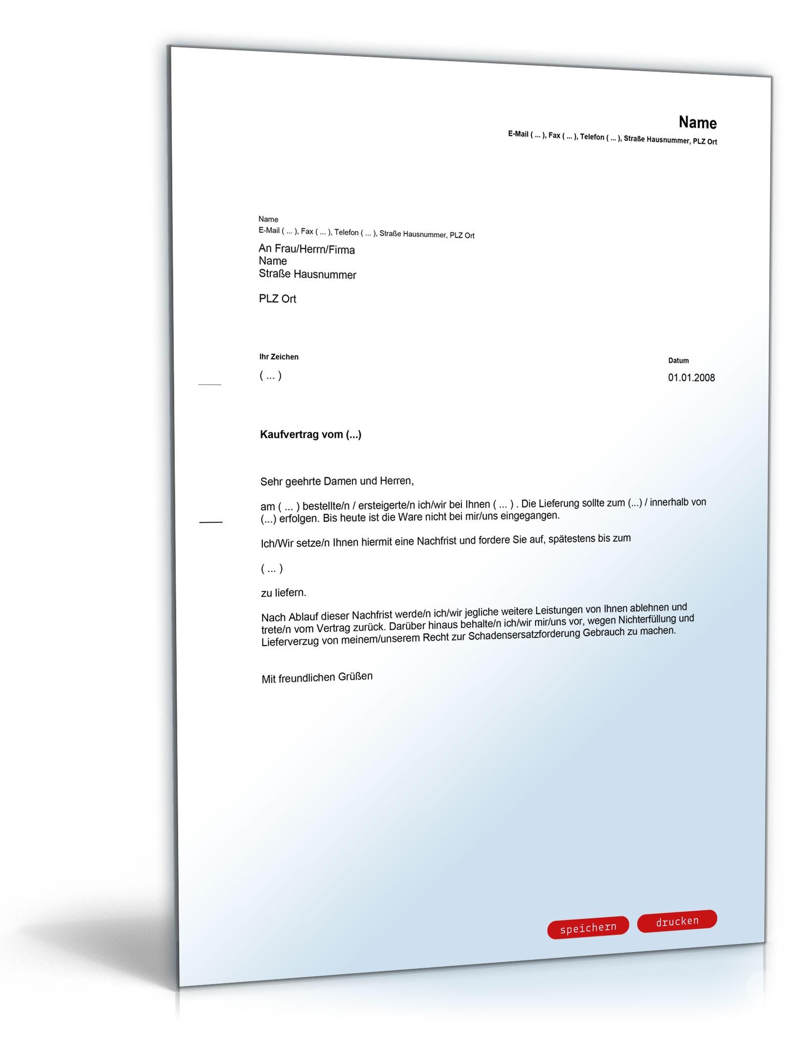 nachfristsetzung lieferverzug vorlage zum download - Rucktritt Vom Kaufvertrag Muster