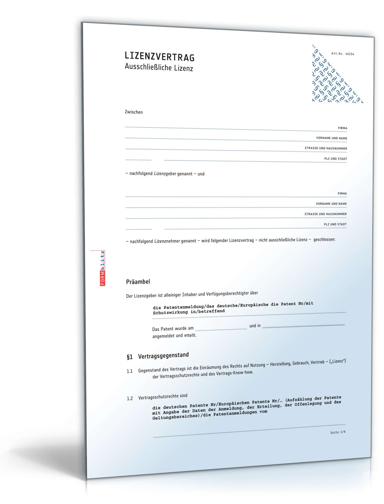 Lizenzvertrag ausschließliche Lizenz   Muster zum Download