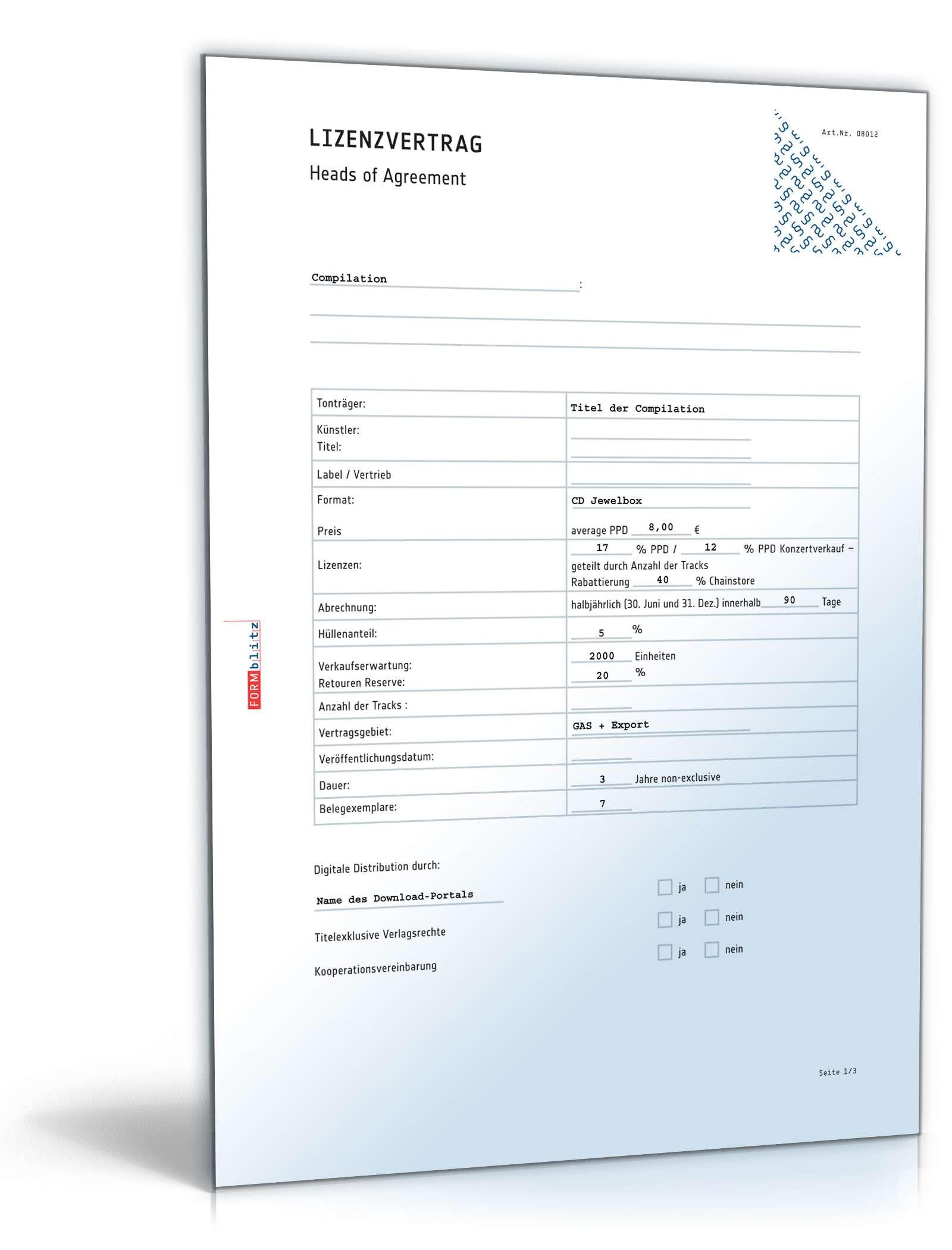 Lizenzanfrage mit Labelcopy | Muster zum Download
