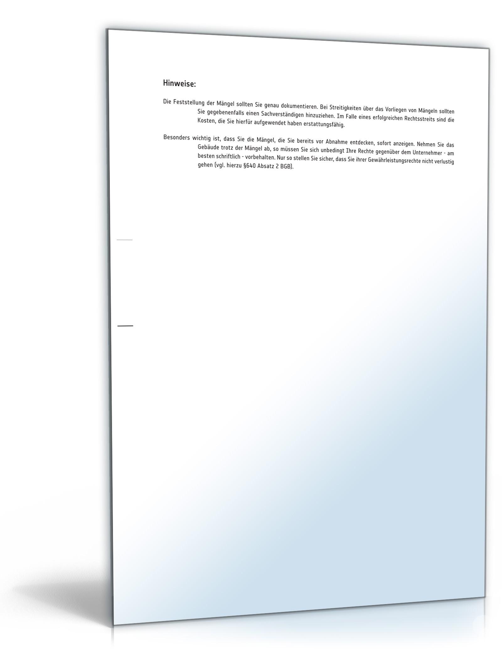 Mängelanzeige Gegenüber Bauunternehmer Muster Vorlage Zum Download