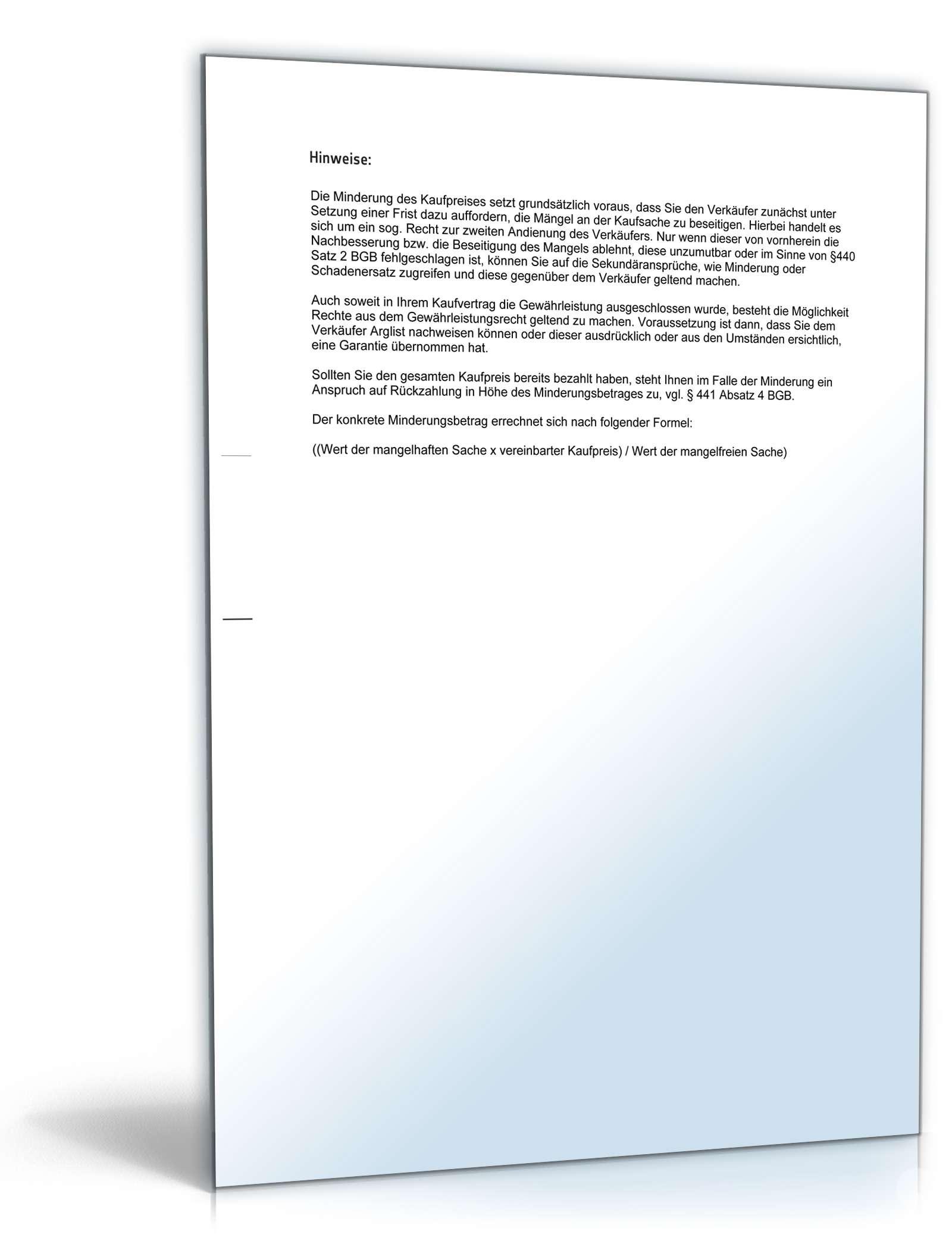 Minderung Gegenüber Verkäufer Muster Vorlage Zum Download