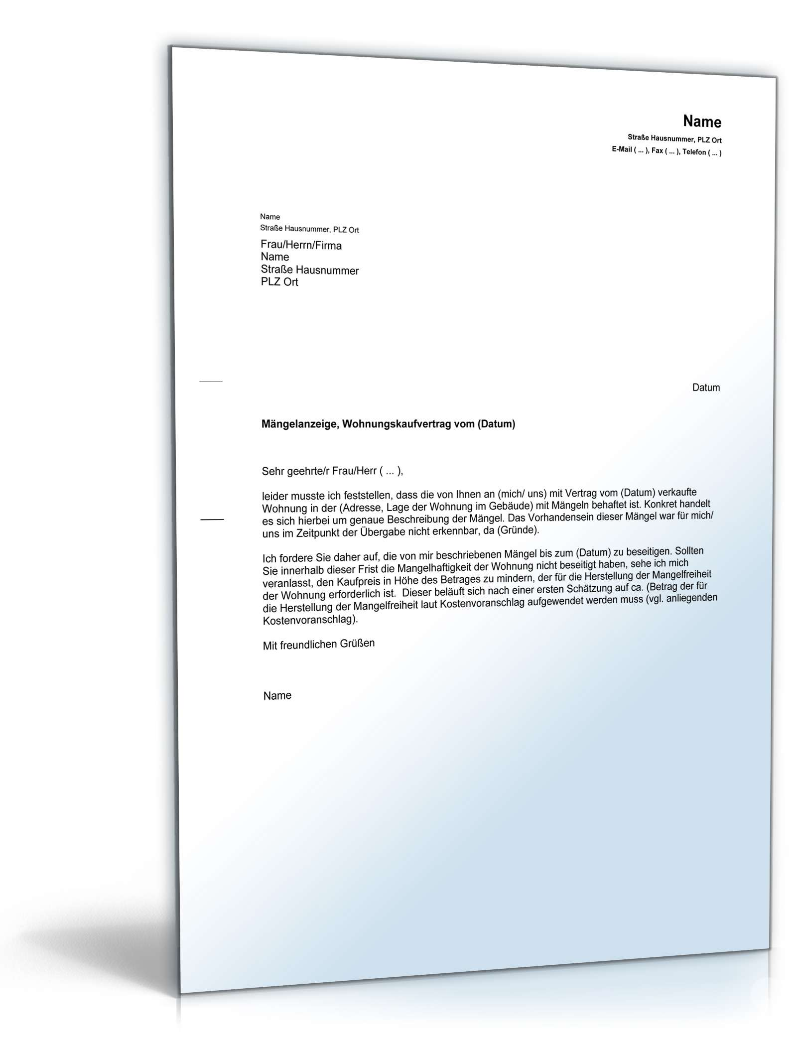 Mängelanzeige Gegenüber Verkäufer Muster Vorlage Zum Download