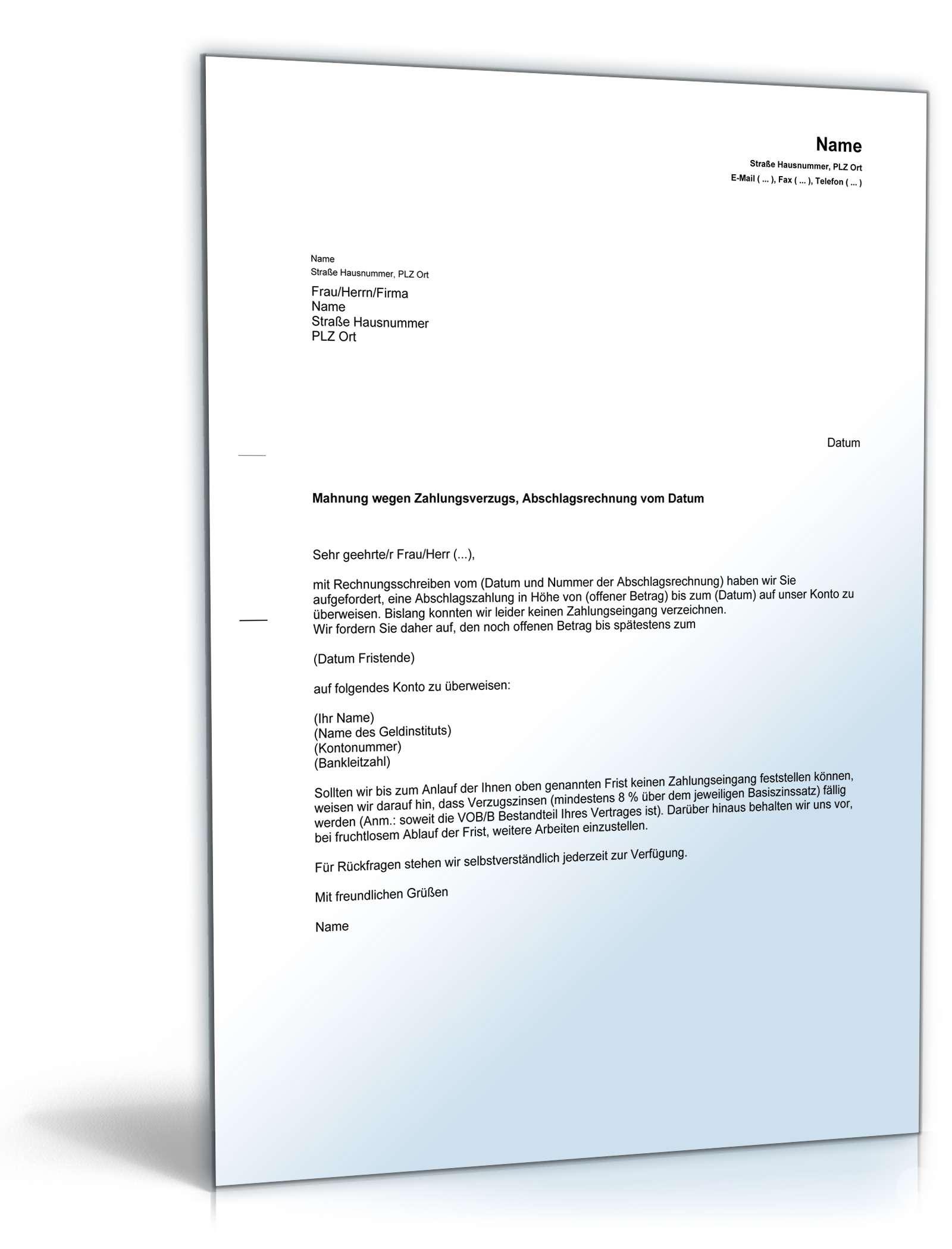 Musterbriefe Vob Kostenlos : Mahnung zahlungsverzug verpflichtung abschlagszahlung