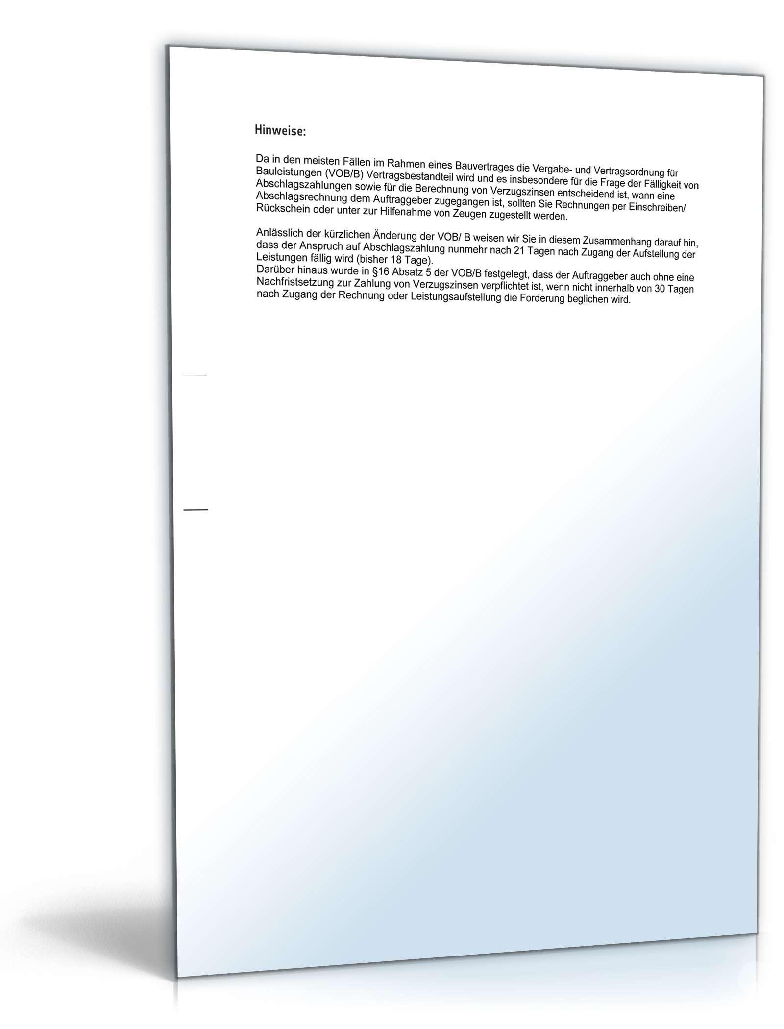 Mahnung Zahlungsverzug Verpflichtung Abschlagszahlung