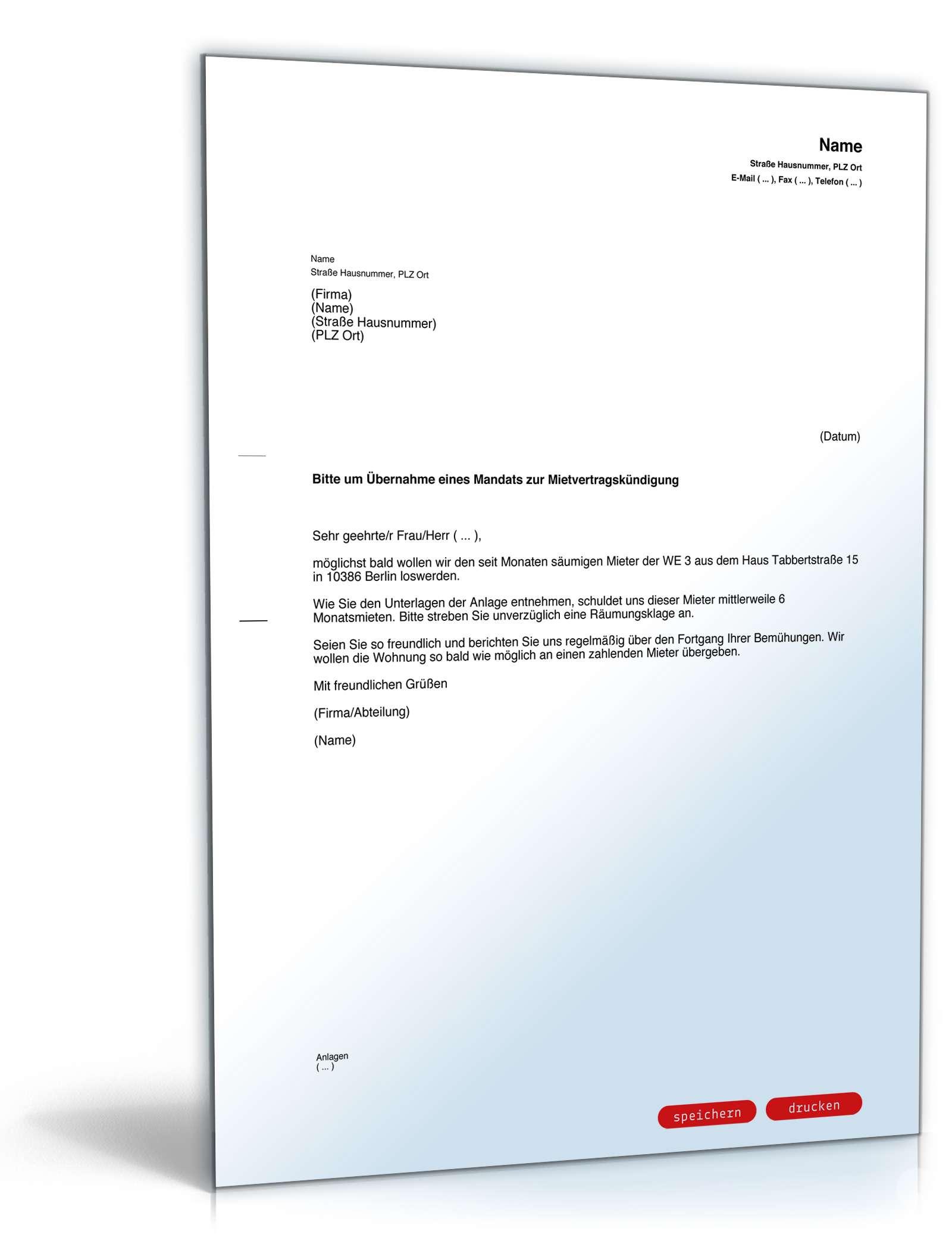 Beauftragung Rechtsanwalt Mietvertragskündigung