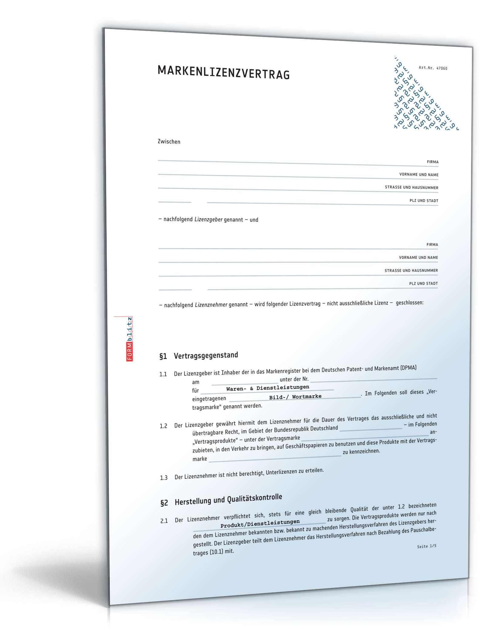 markenlizenzvertrag muster zum download - Lizenzvertrag Muster