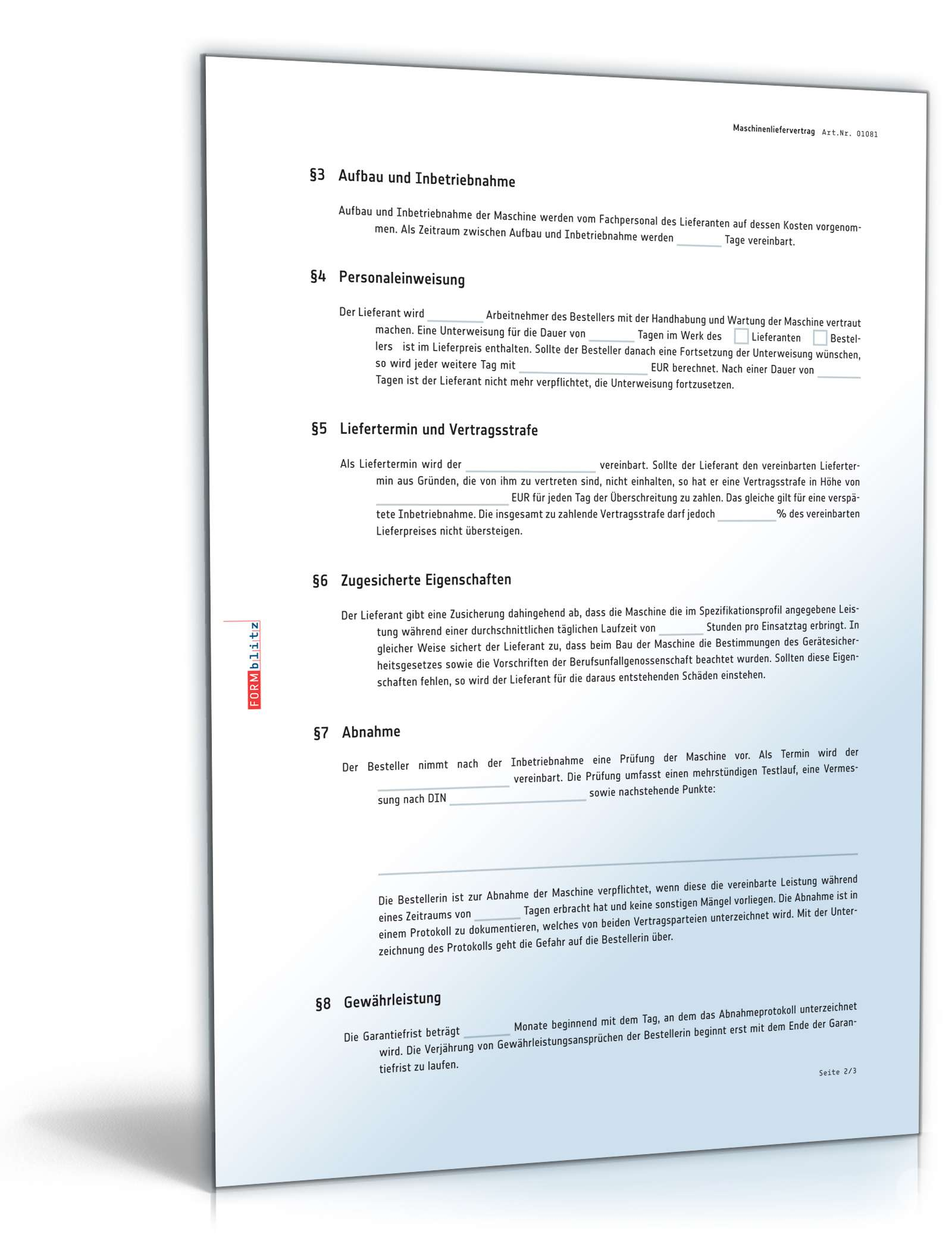 Maschinenliefervertrag Muster Zum Download