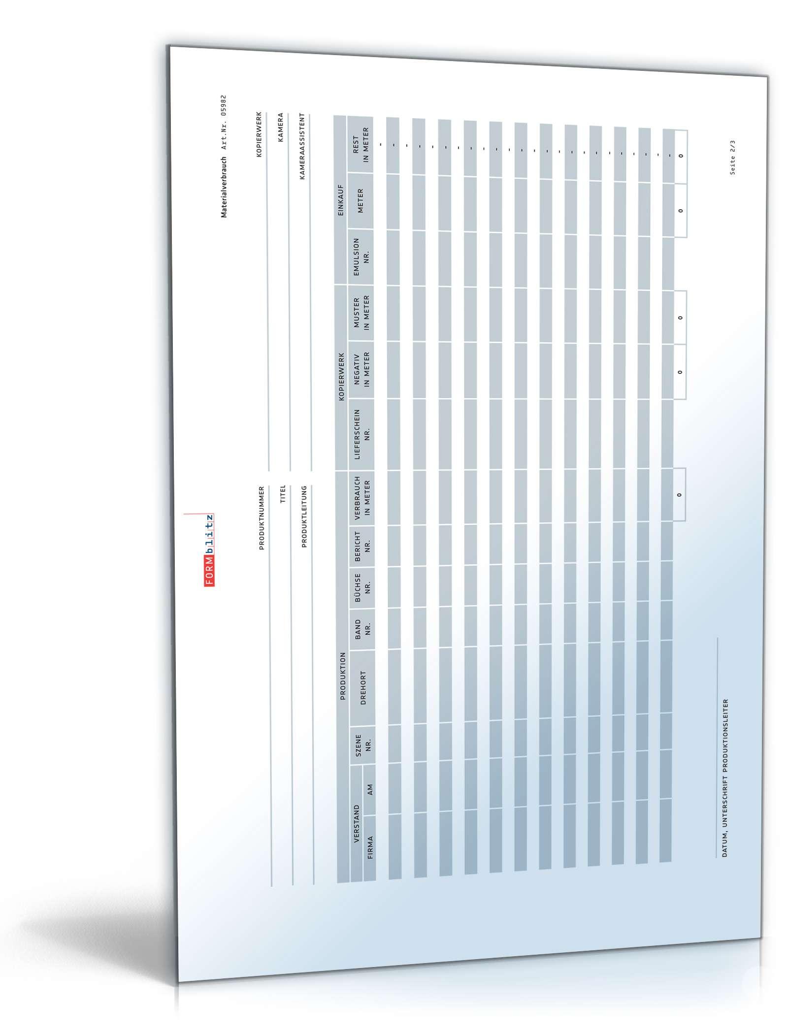 Materialverbrauch Berechnen : materialverbrauch film vorlage zum download ~ Themetempest.com Abrechnung