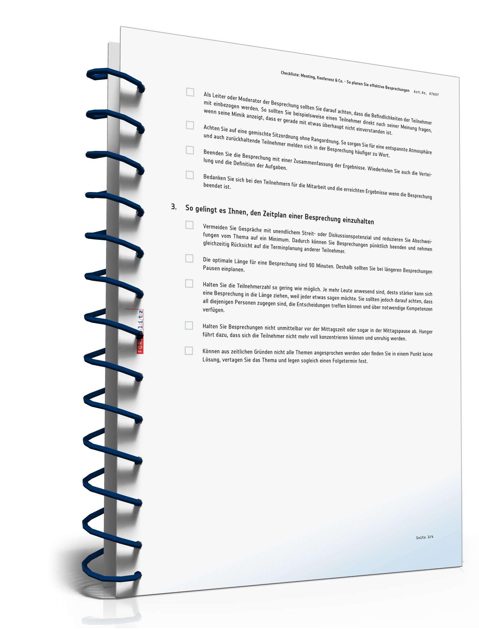 Checkliste Planung Meeting/Besprechung | Muster zum Download