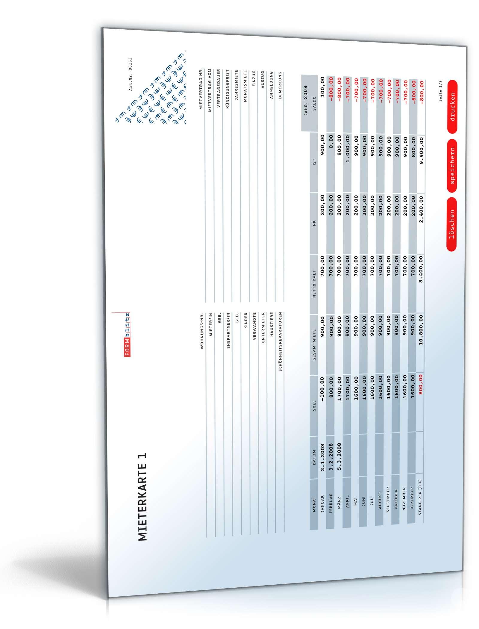 Mieterkarte: Mietquittung als Muster zum Download