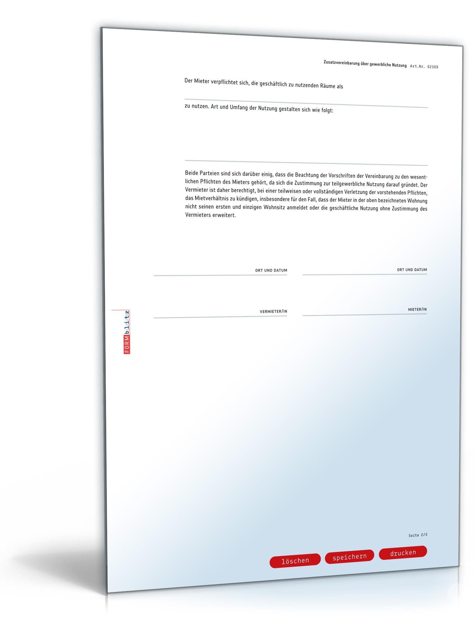 Zusatzvereinbarung Mietwohnung Vorlage Zum Download