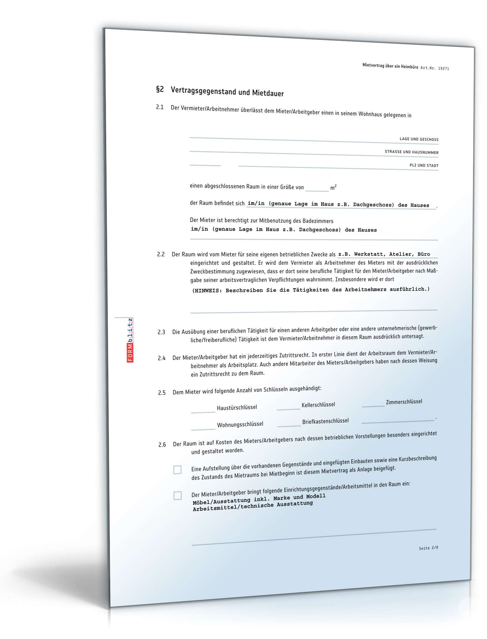 heimbuero mietvertrag muster - Mietvertrage Muster