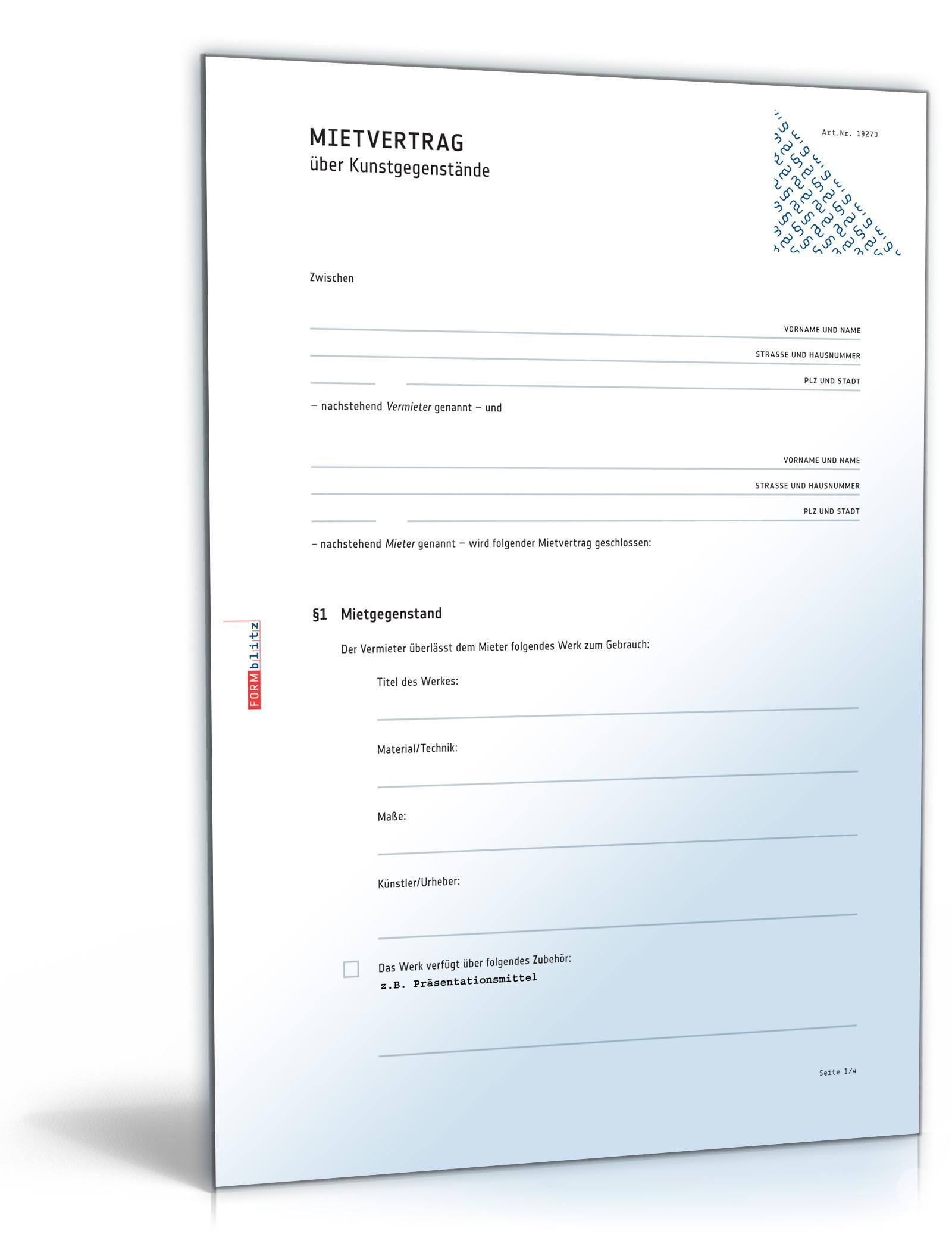 kunstmietvertrag muster mietvertrag kunstgegenstand pdf doc zum download. Black Bedroom Furniture Sets. Home Design Ideas