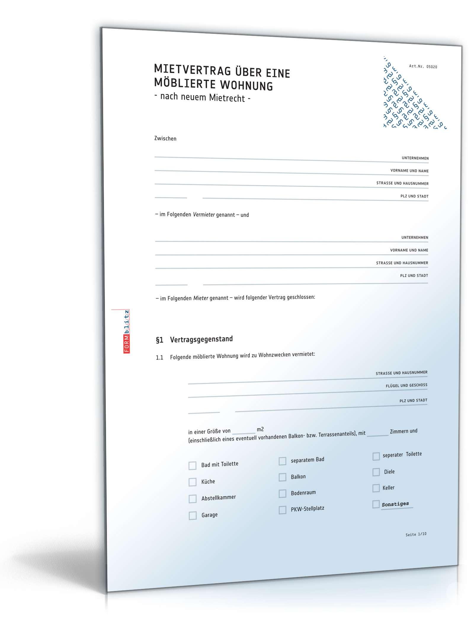 Mietvertrag möblierte Wohnung | Muster zum Download