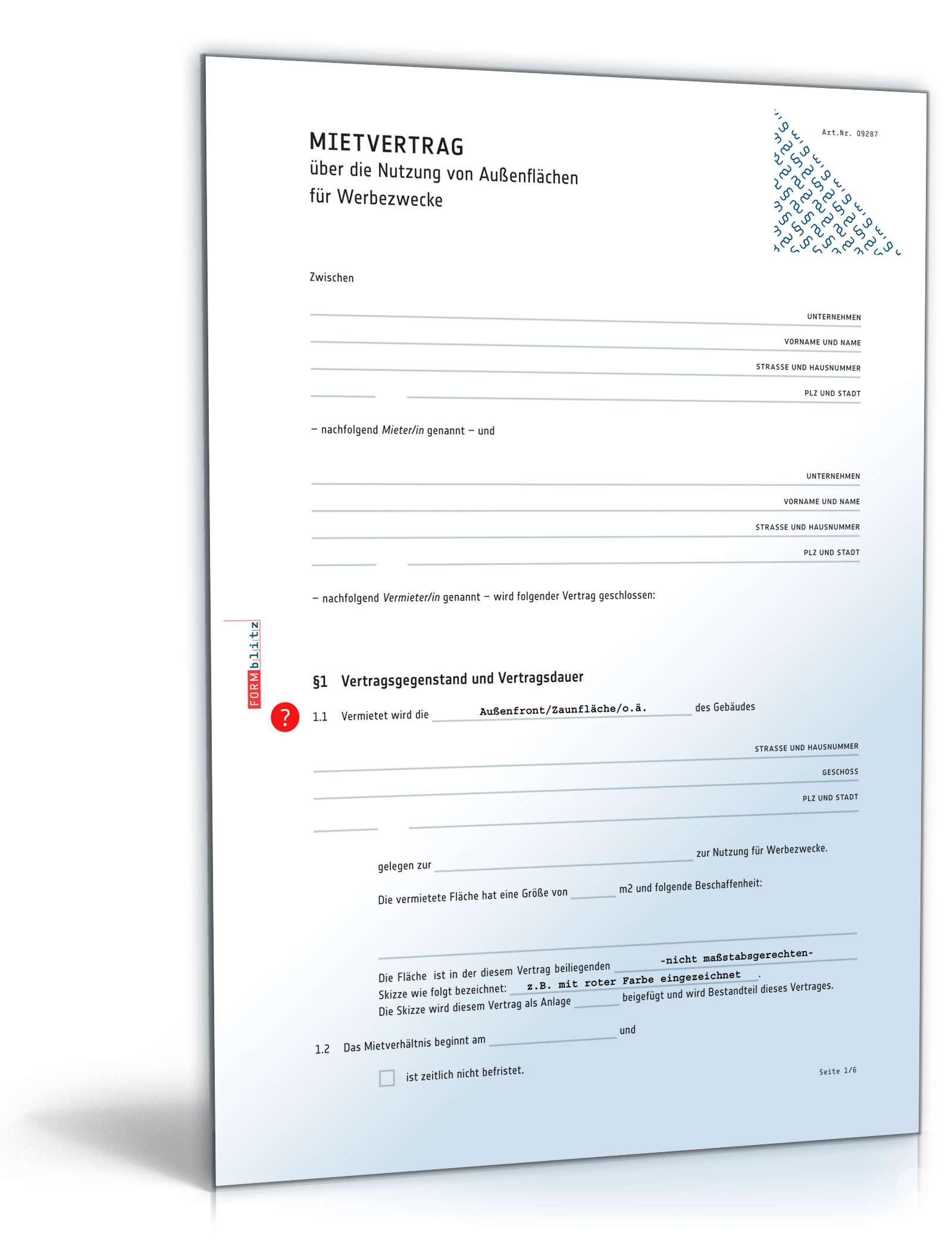 Mietvertrag Nutzung Werbefläche Muster Pdf Word Zum Download