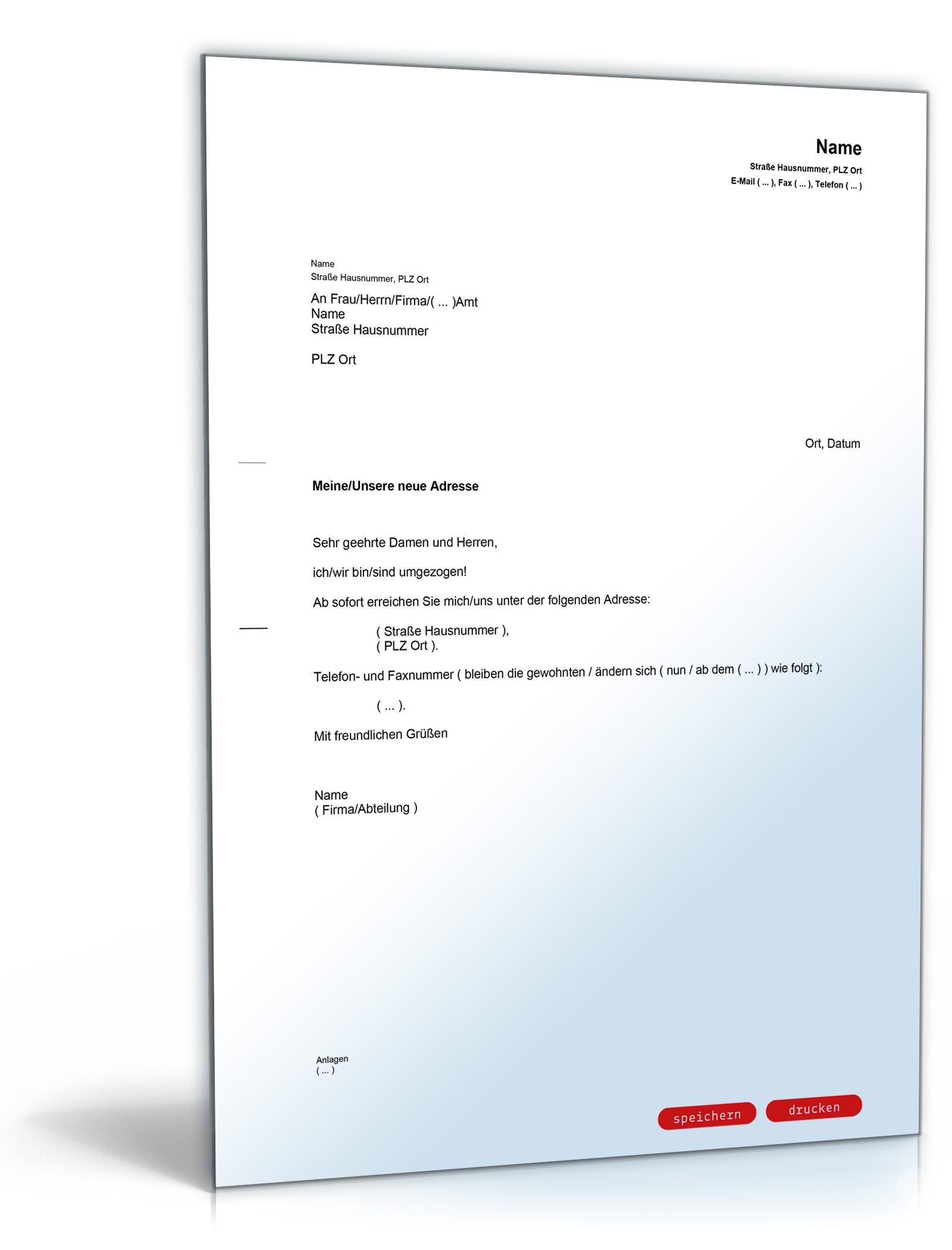 Mitteilung änderung Bisheriger Anschrift Vorlage Zum Download