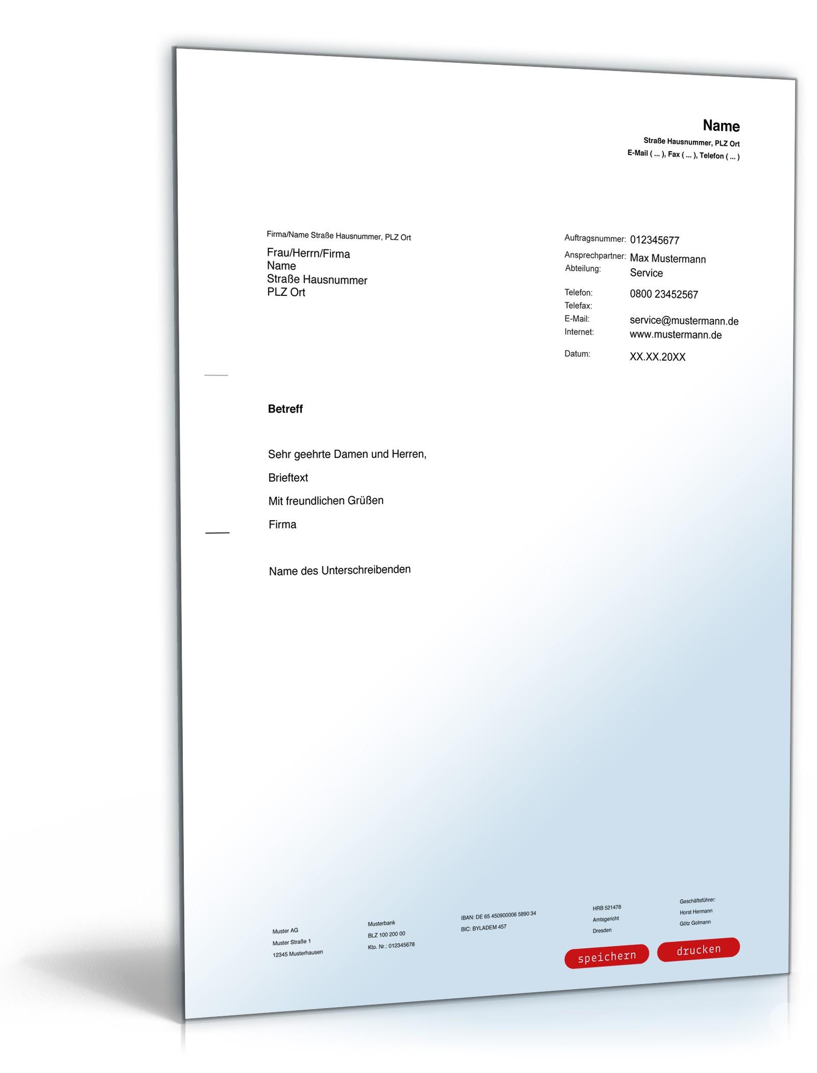 Allgemeiner Musterbrief Vorlage Zum Download