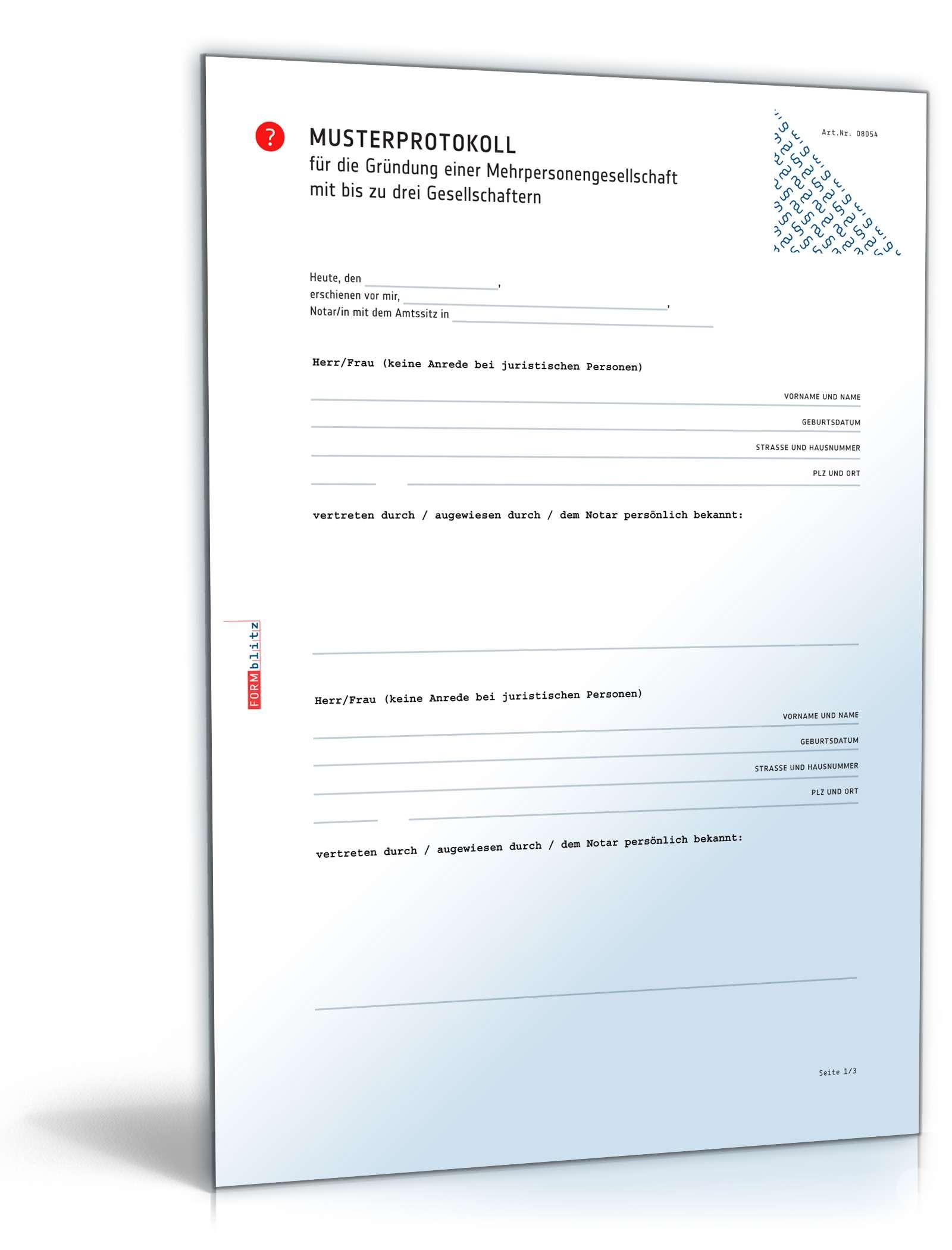 Musterprotokoll Mehrpersonengesellschaft Vorlage Zum Download